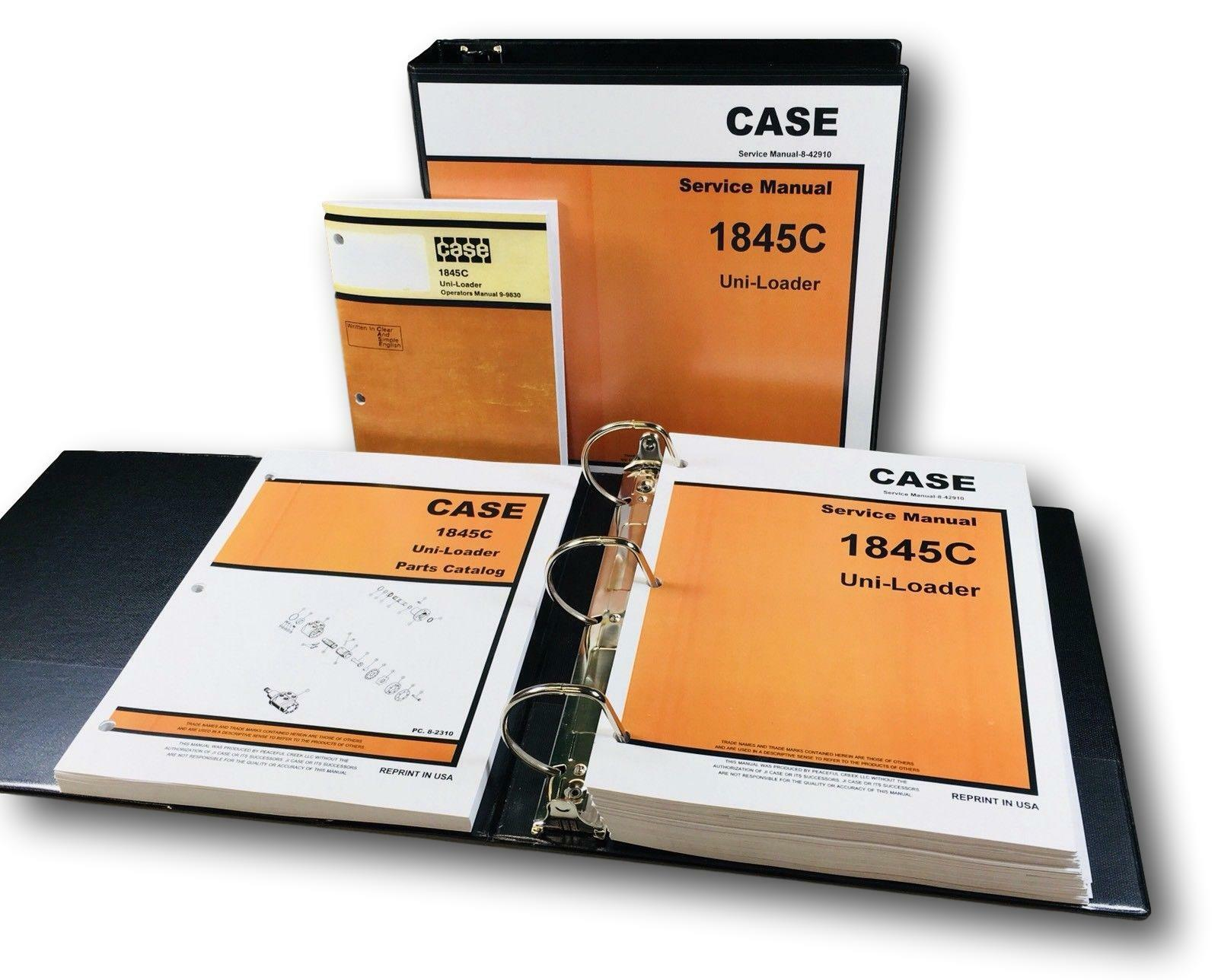 Case 1845C Uni-Loader Skid Steer Service Parts Operators Manual 1 of 12FREE  Shipping ...