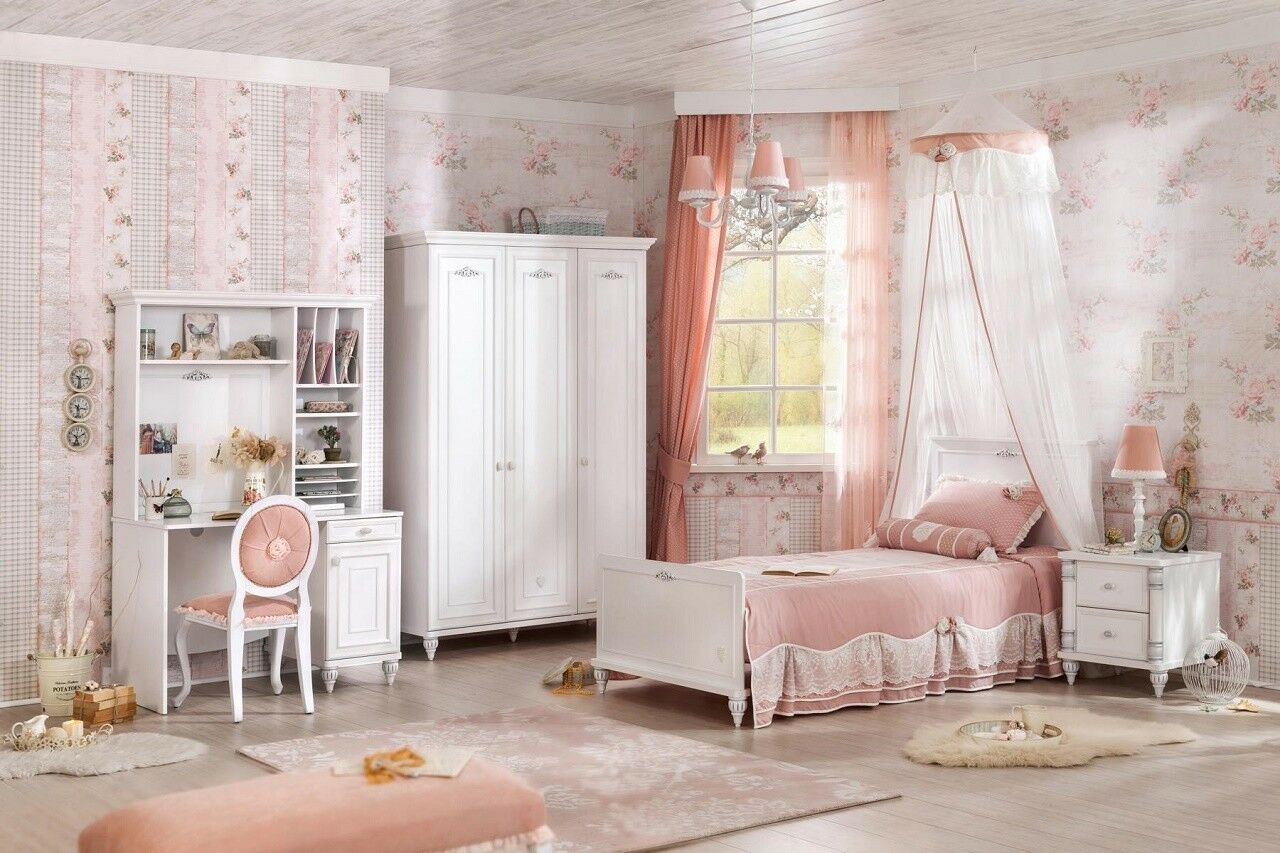 kinderzimmer komplett set m dchen wei jugendzimmer komplett 7 tlg romantica eur. Black Bedroom Furniture Sets. Home Design Ideas