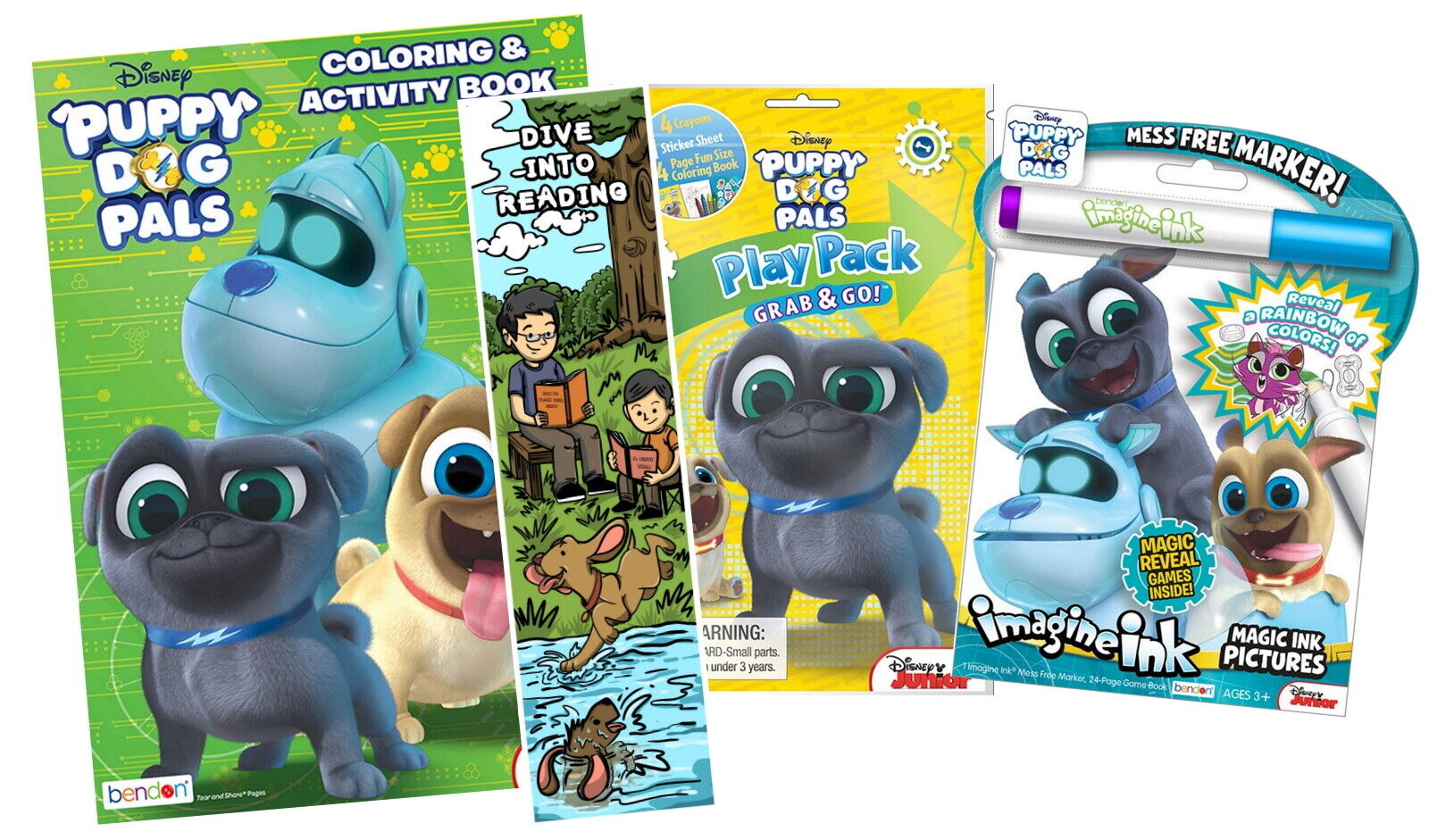 New Lot Of 3 Disney Puppy Dog Pals Coloring Activity Items