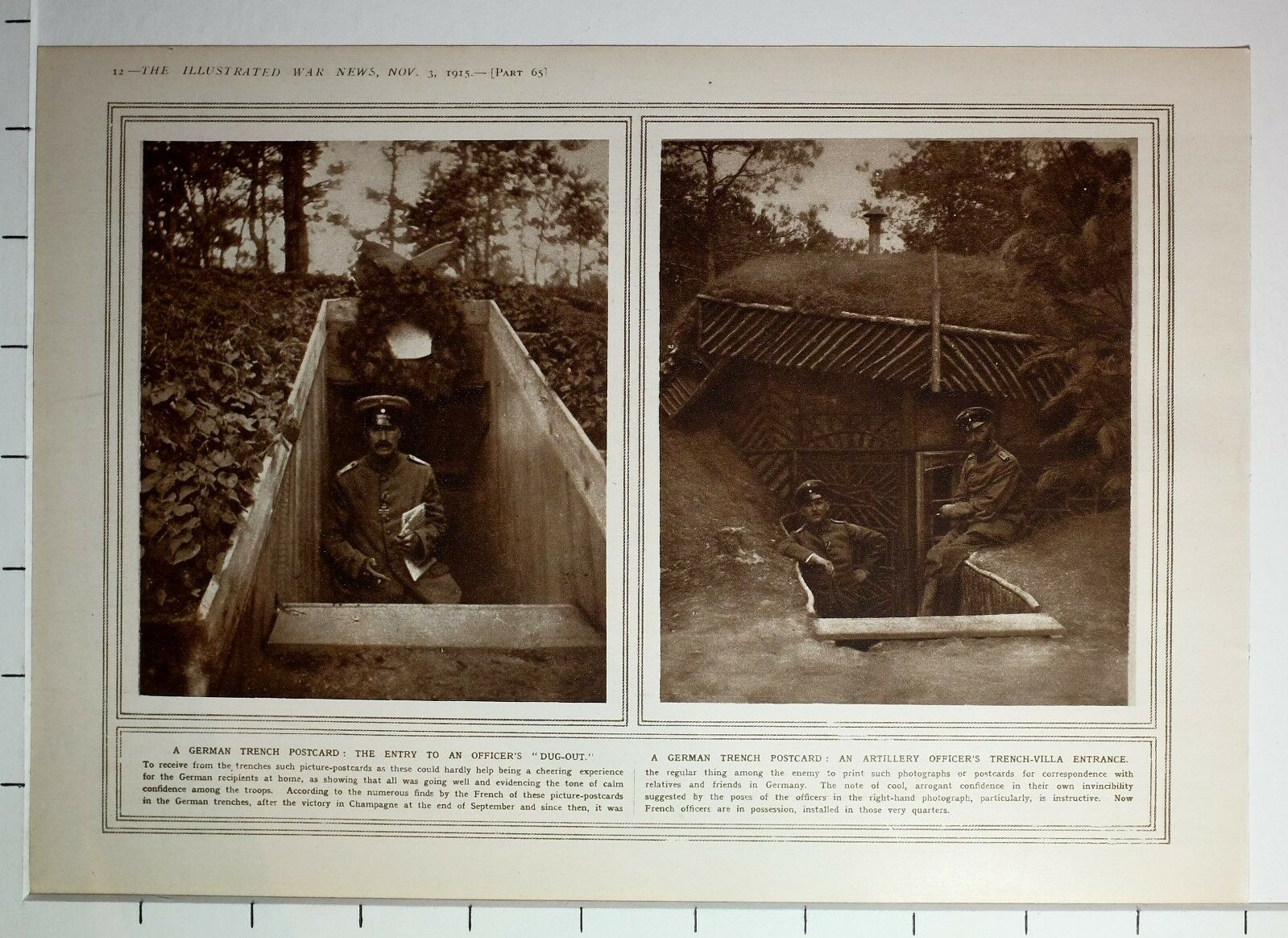 1915 Wwi Ww1 Print German Trench Postcard Entry To Officers Dug Out Diagram 1 Of 1only Available