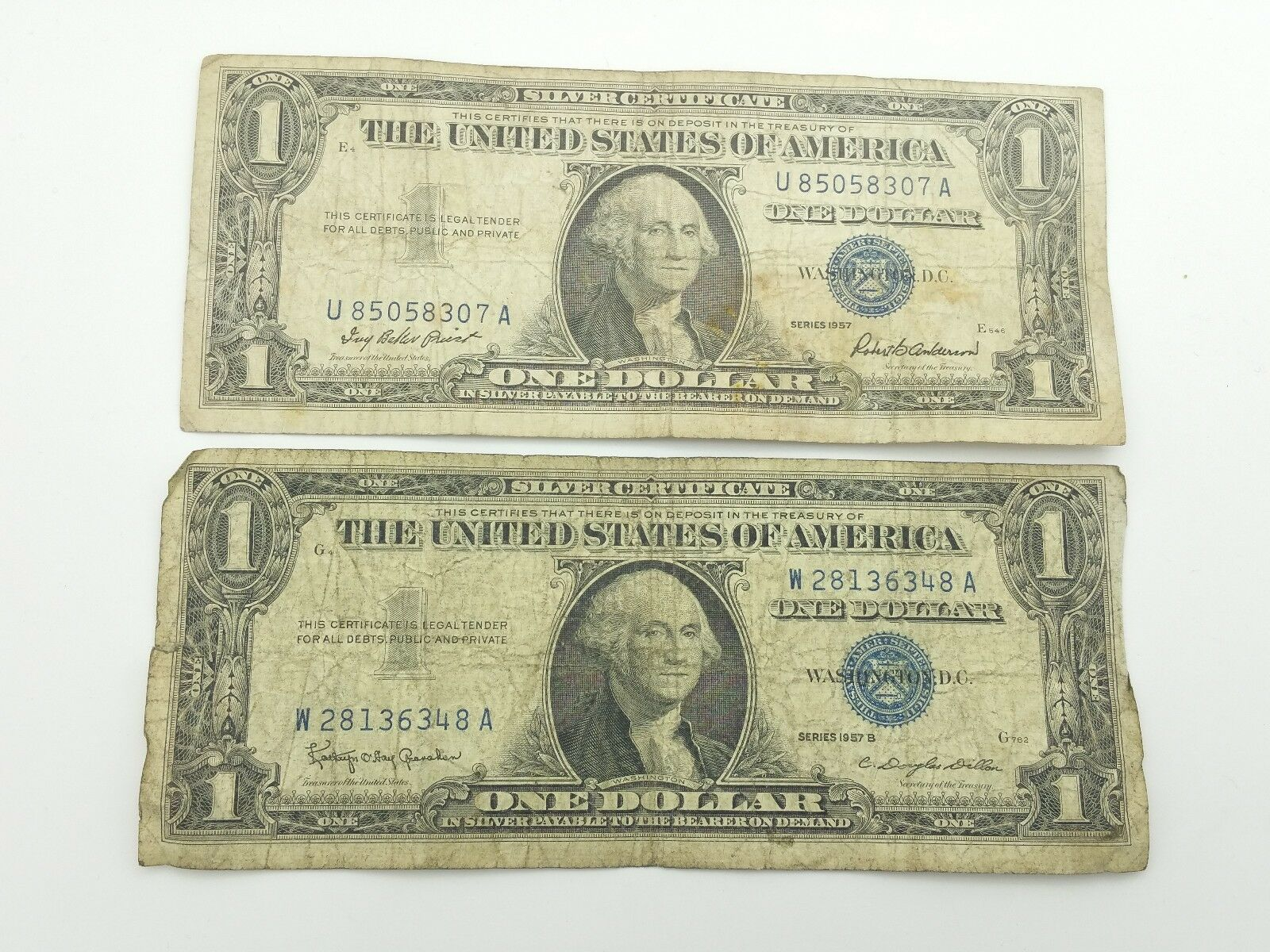 1957 1957b Blue Seal One 1 Dollar Silver Certificate Bill Old