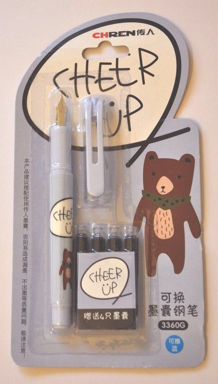 XMAS//B-DAY GIFT FOR SCHOOL KIDS *NEW*FOUNTAIN PEN WITH FINE NIB AND INK REFILLS