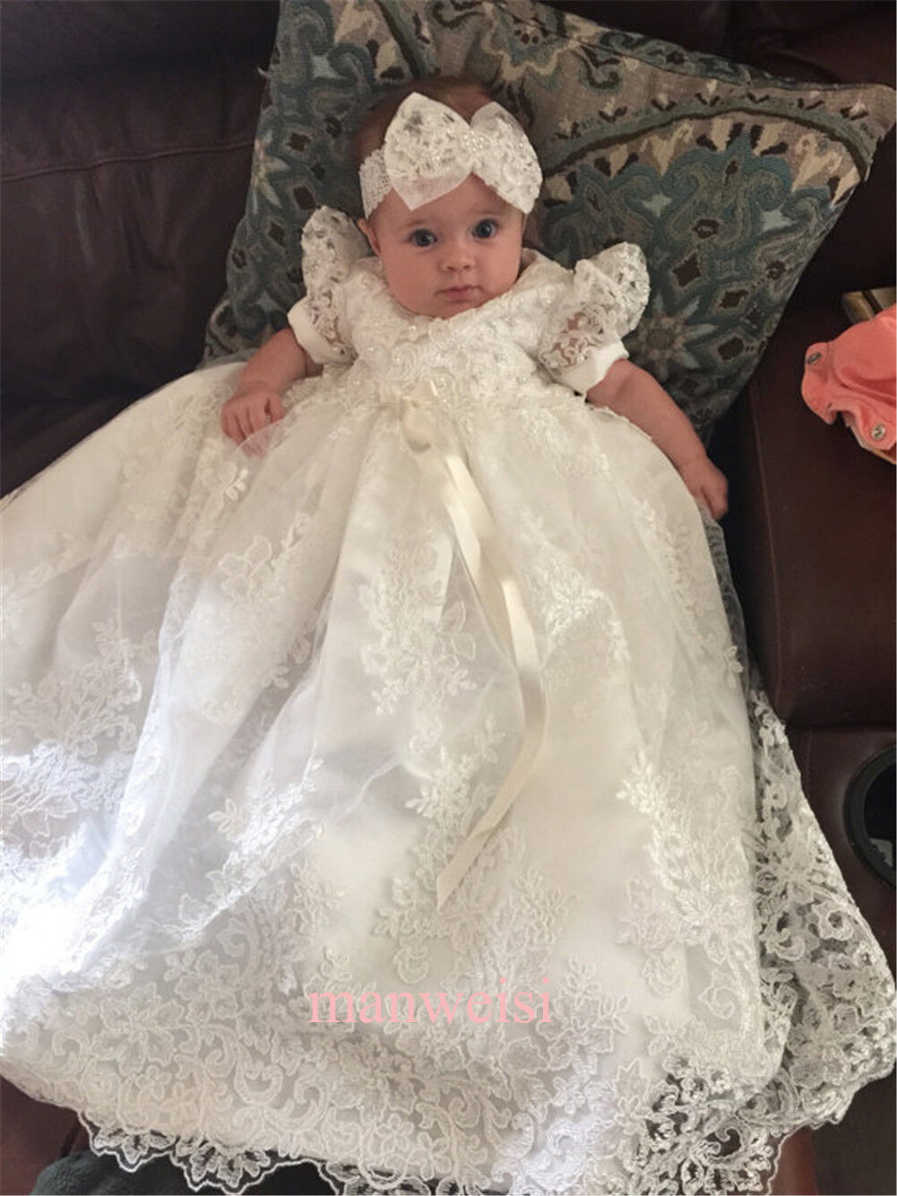 IVORY VINTAGE CHRISTENING Dress Baptism Gowns Lace Toddler Baby In ...