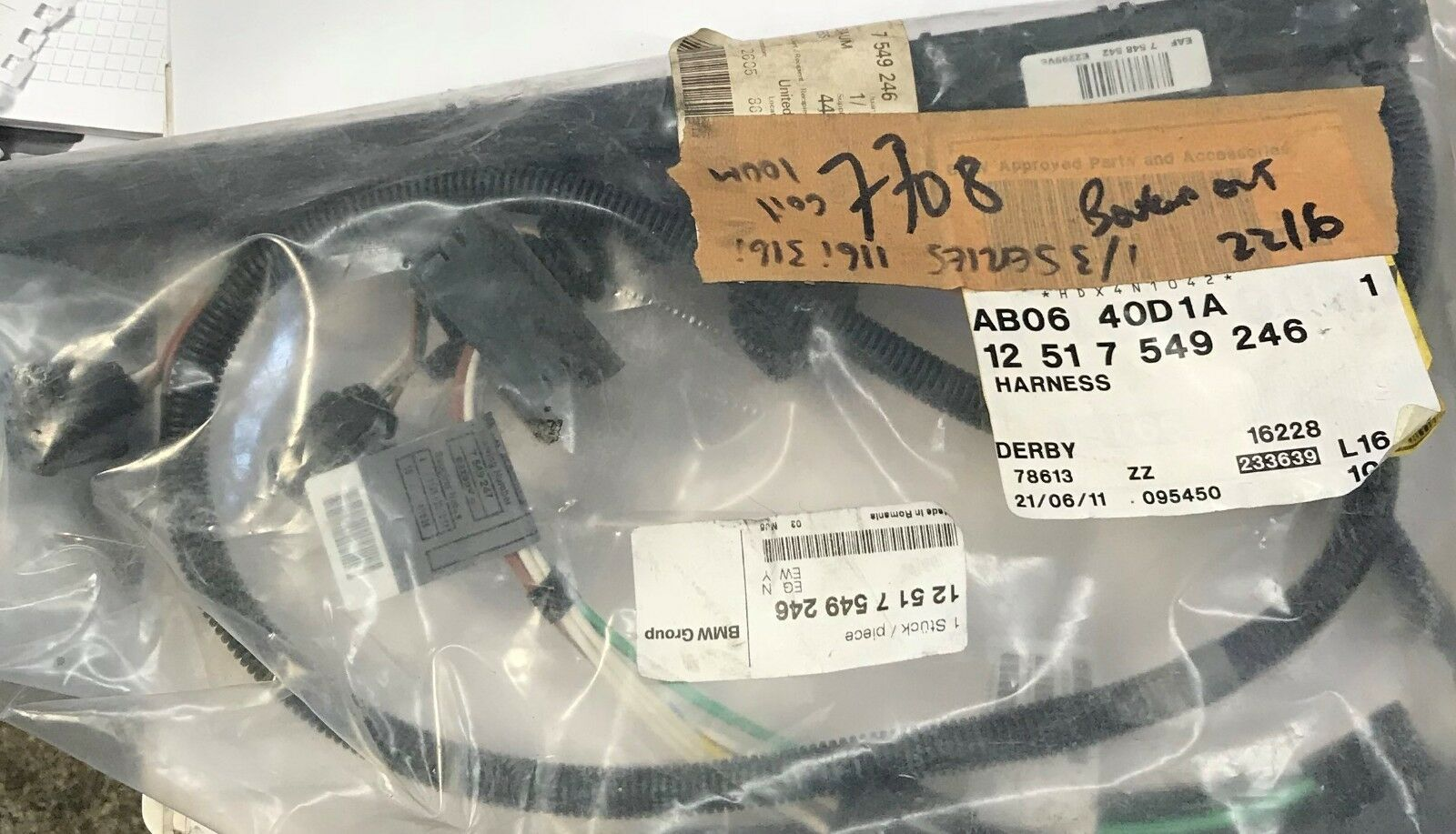Bmw 1 Series 3 E87 E90 Ignition Coil Wiring 12517549246 Brand Harness New Genuine Of 12only Available