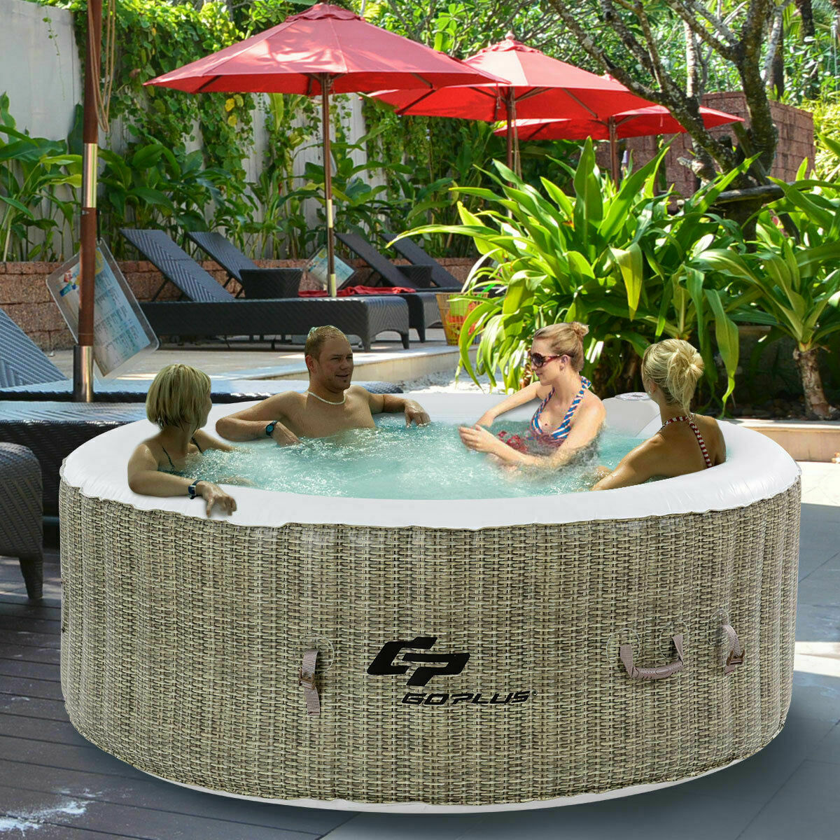 4 PERSON INFLATABLE Hot Tub Outdoor Jets Portable Heated Bubble Spa ...