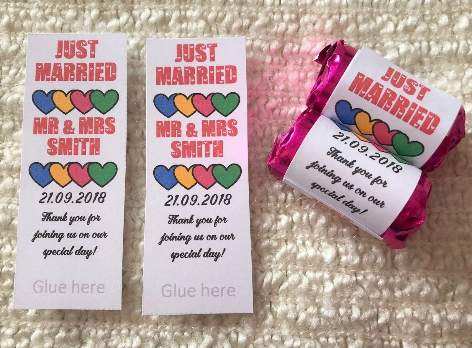 PERSONALISED MINI LOVE Heart Sweet Wrappers Only Wedding Favours ...