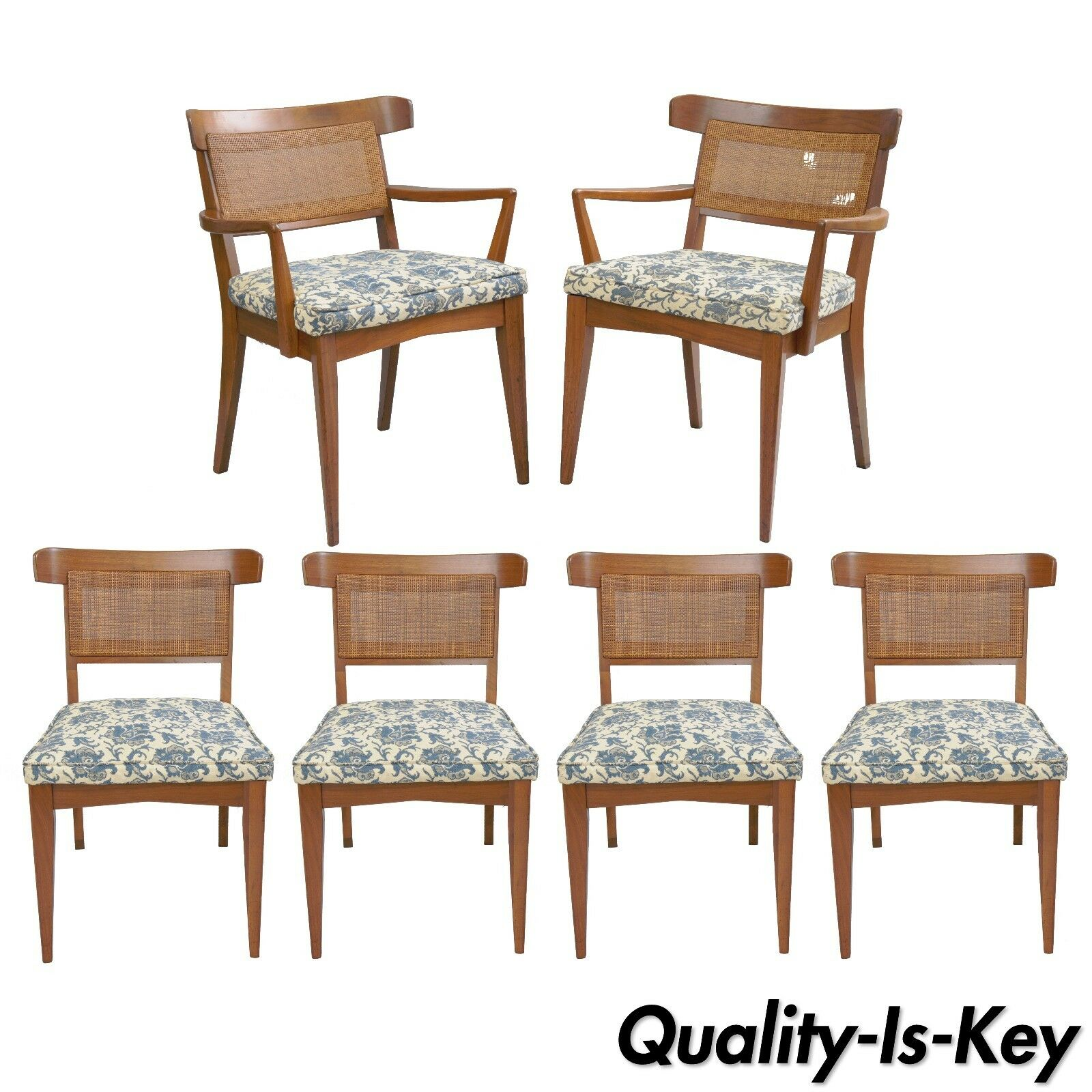 6 vtg mid century modern walnut curved cane back dining chairs tomlinson style 1 of 12only 1 available see more