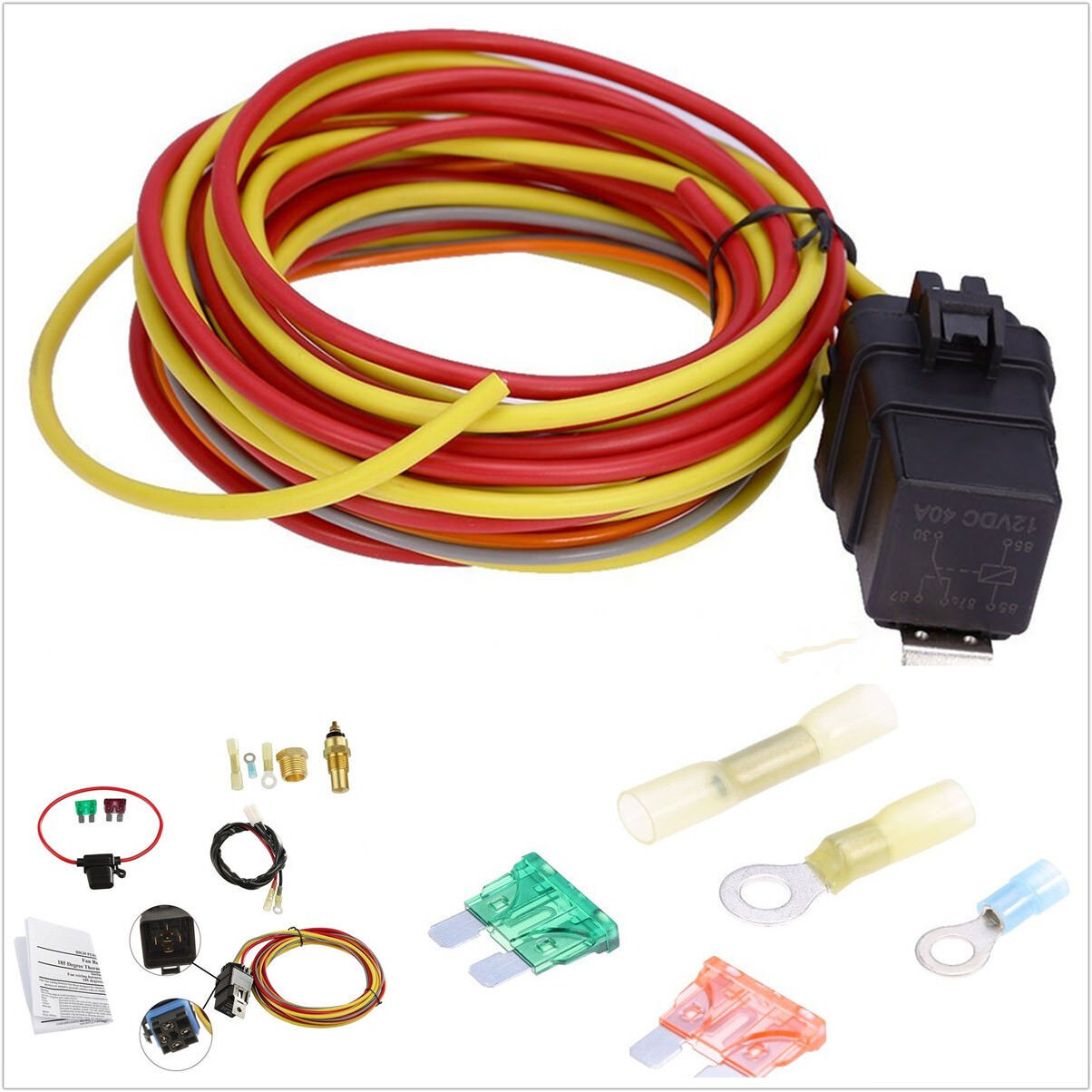 Car 165 185 Degree Thermostat Switch Single Electric Cooling Fan Wiring Harness 1 Of 12free Shipping See More