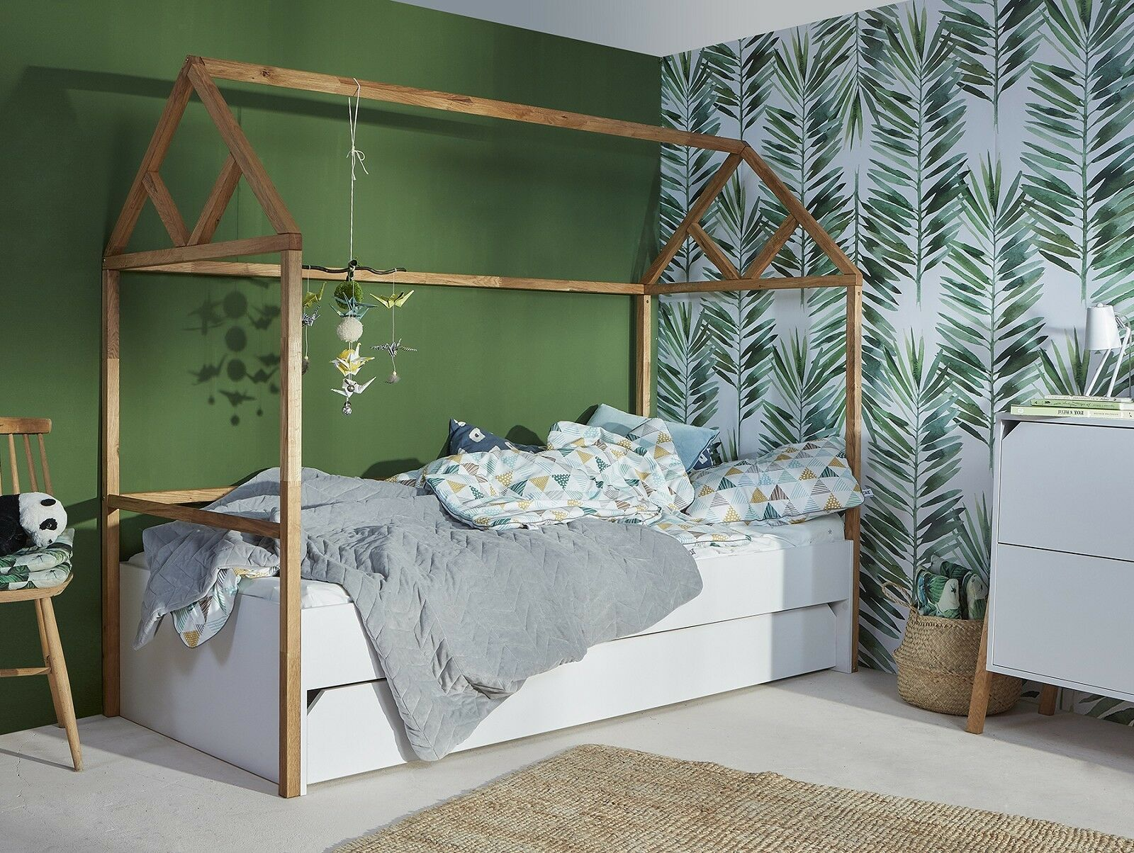 hausbett kinderbett 90x200 mit schublade zeltbett jugendbett holz wei marta eur 575 00. Black Bedroom Furniture Sets. Home Design Ideas