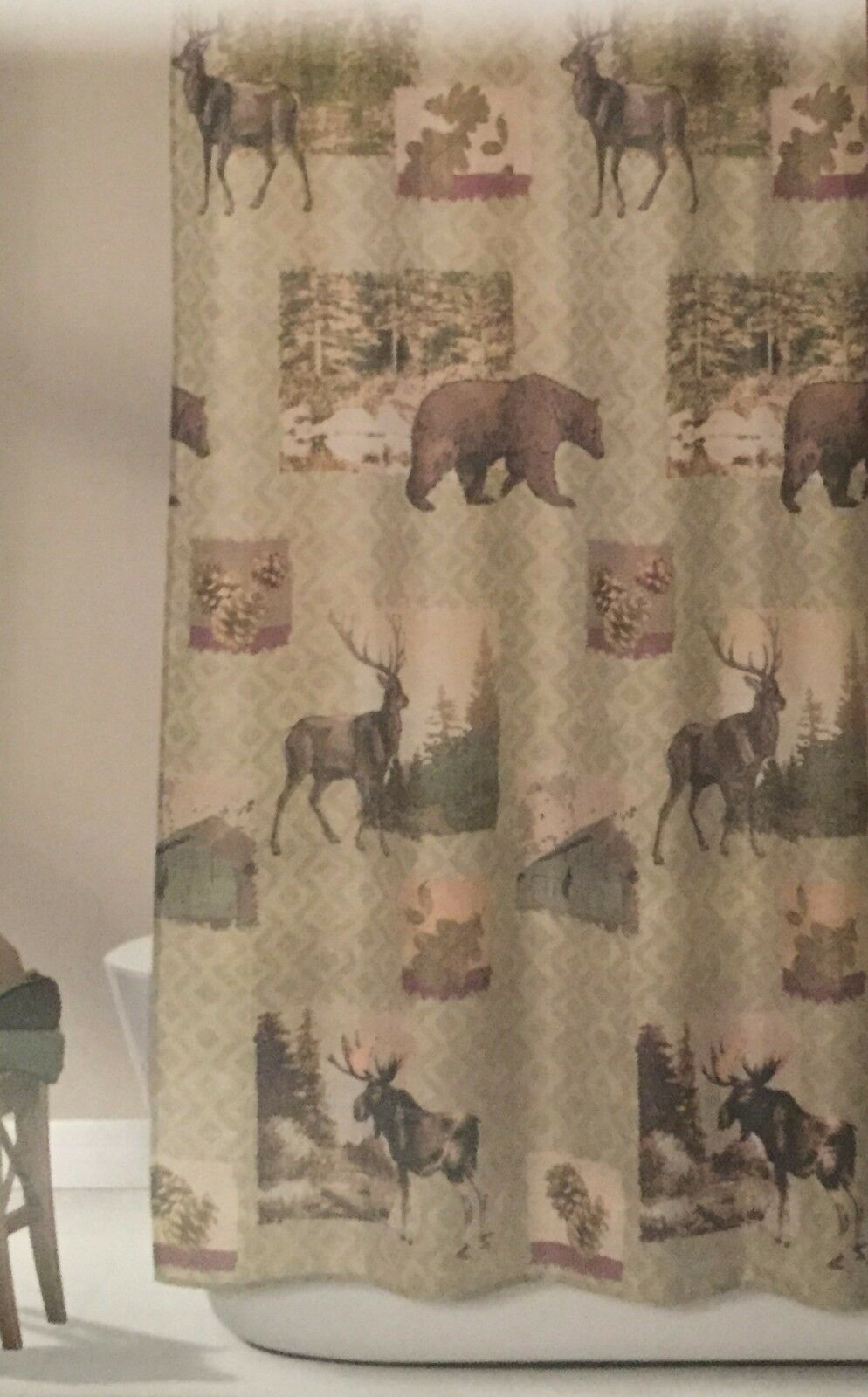 Bear Moose Fabric Shower Curtain Design Home Mountain Lodge Woodland 1 Of 3 See More