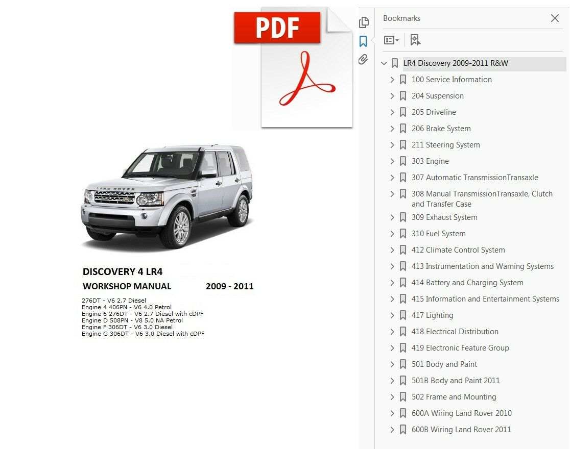 Land Rover Discovery 4 Lr4 2009 2010 2011 Service Repair Workshop Lr2 Wiring Diagram Manual 1 Of 2free Shipping