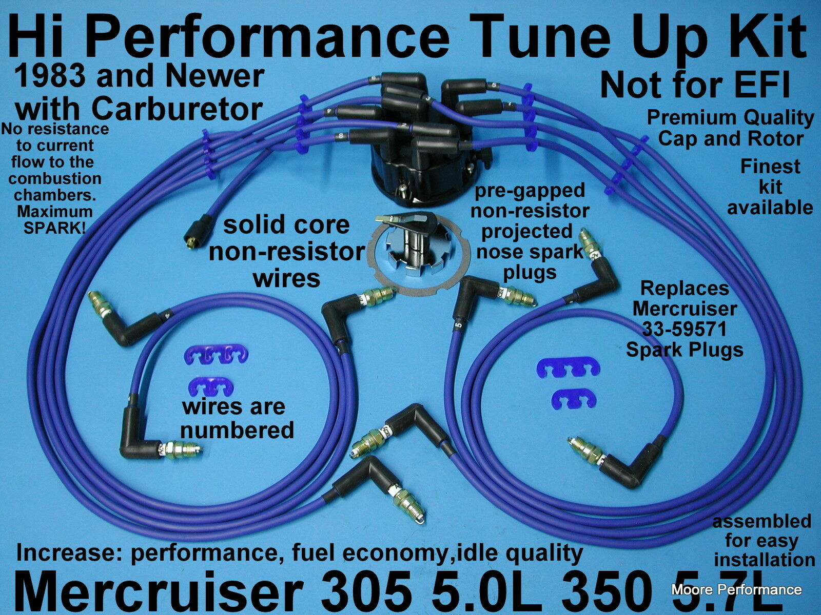 Tune Up Kit Mercruiser V8 305 50 350 57 Spark Plug Wires 87 Ford 5 0 Wire Distributor Wiring Cap Rotor
