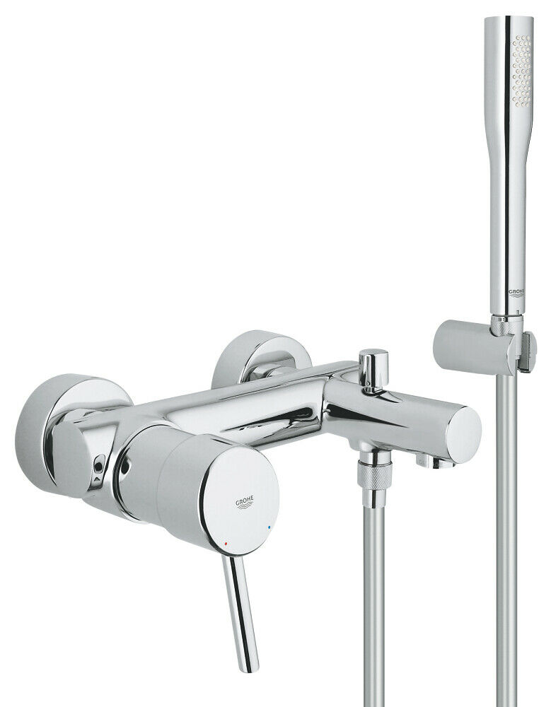 GROHE CONCETTO SINGLE Lever Bath Shower Mixer Tap Wall Mounted New ...