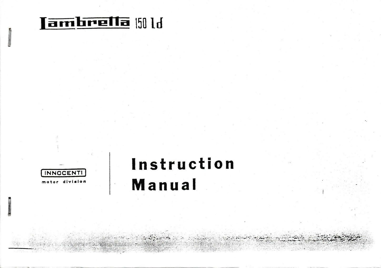 Lambretta 150 Ld Scooter Instruction Manual 1 of 1Only 1 available ...
