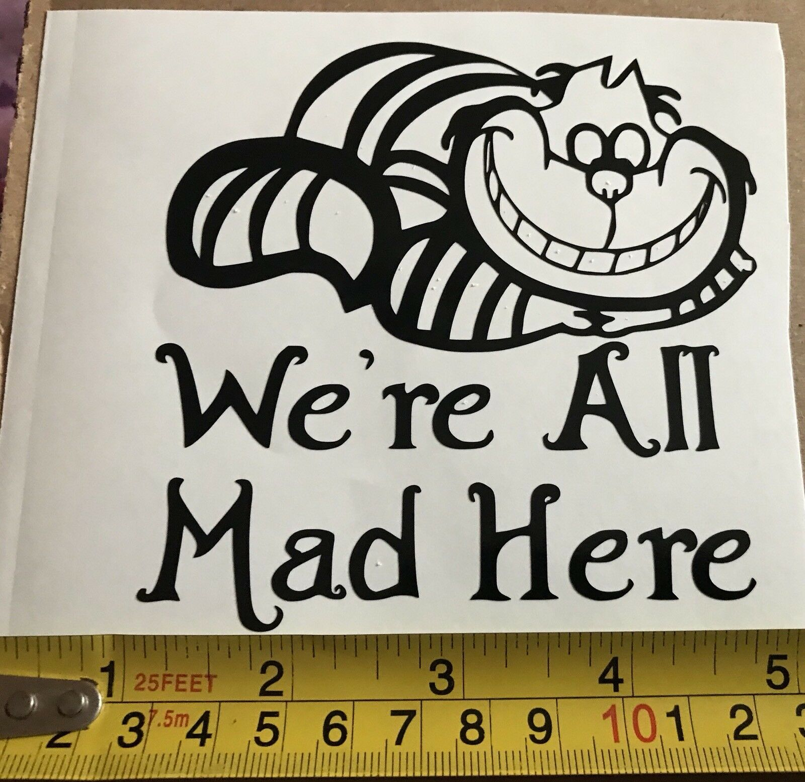 Car window decal disney cheshire cat were all mad here funny vinyl sticker 1 of 1free shipping
