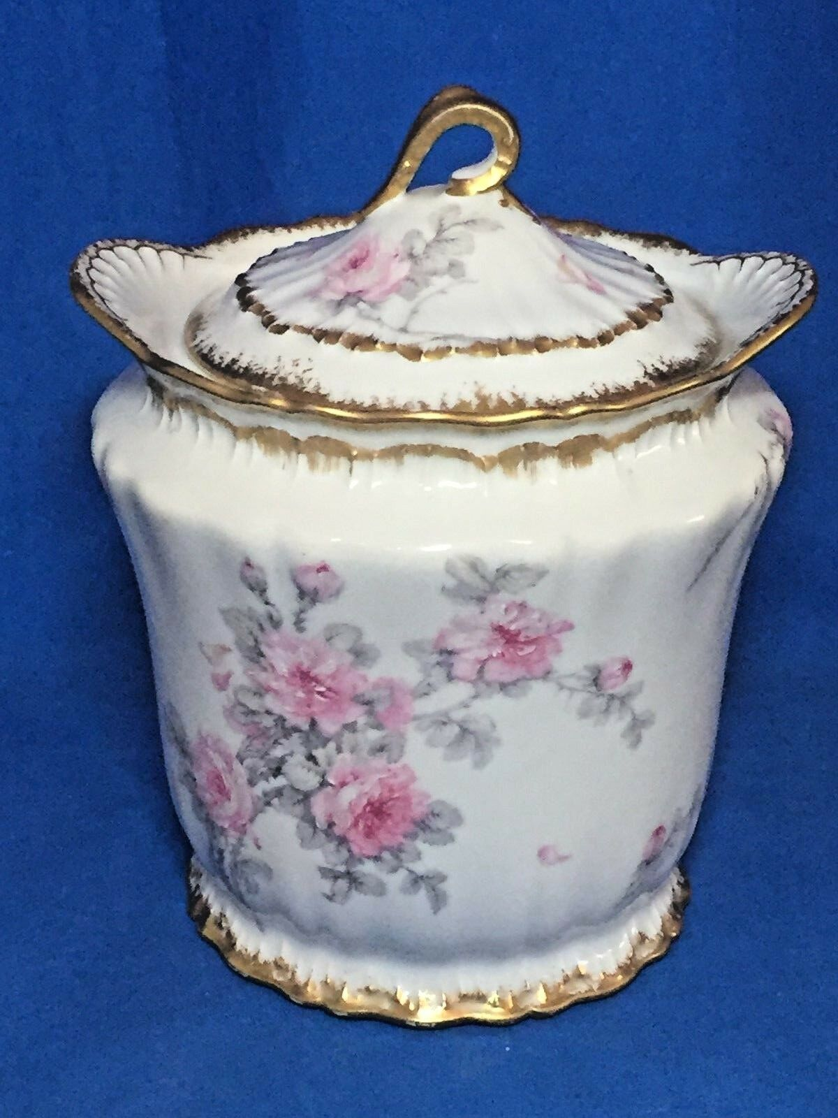 Rare Theodore Haviland Limoges China Pink Roses Double Gold Trim