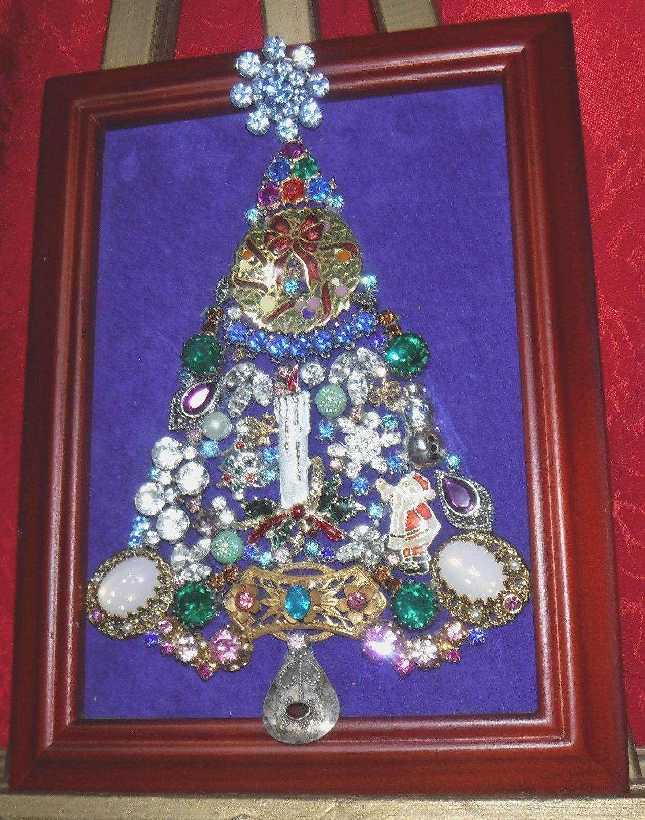 VINTAGE JEWELRY CHRISTMAS Tree, framed and signed - $46.99 | PicClick