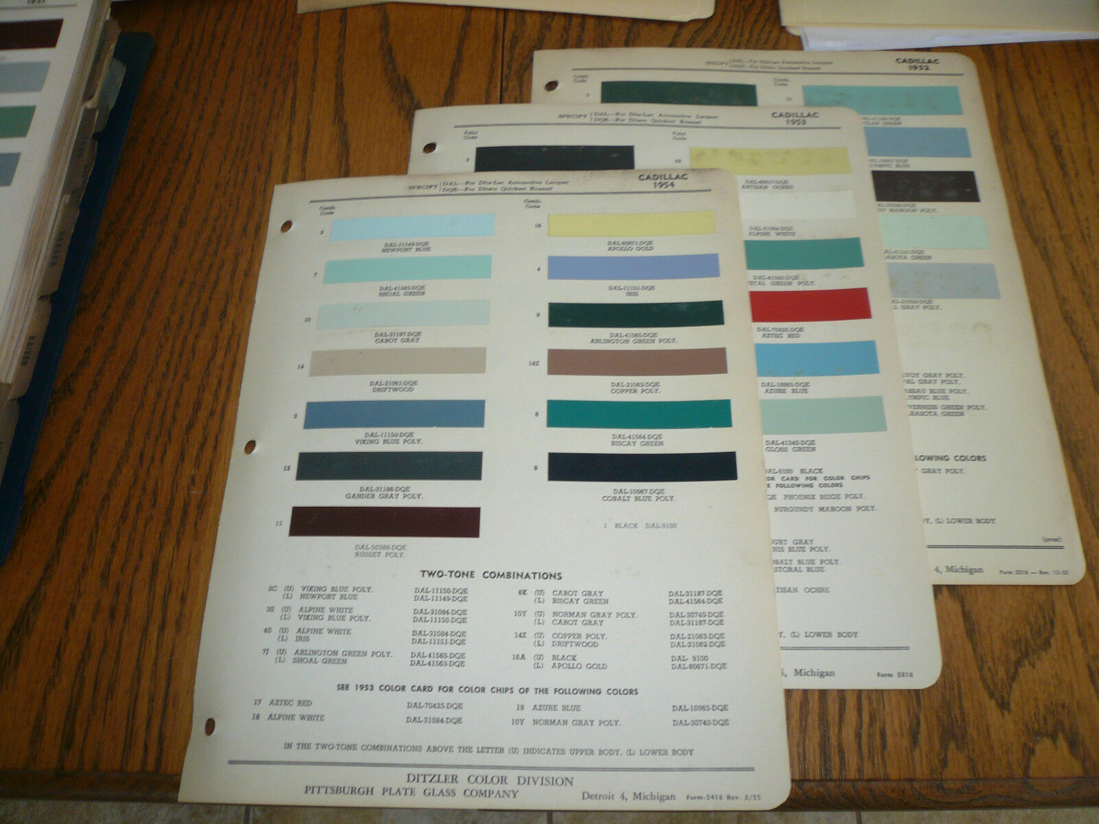 1952 1953 1954 Cadillac Ditzler Ppg Color Chip Paint Samples Wiring Diagram 1 Of 1only Available