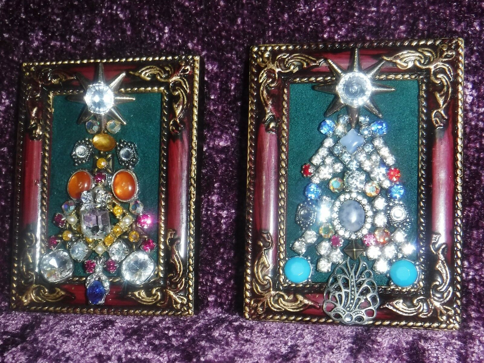 PAIR OF VINTAGE Jewelry Art Mini Christmas Trees, signed & framed ...