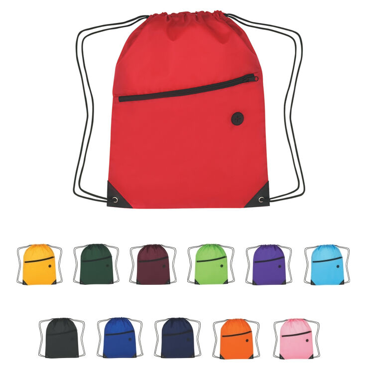 100 DRAWSTRING BACKPACKS With Front Zippered Pocket - MORE PRODUCTS IN OUR STORE