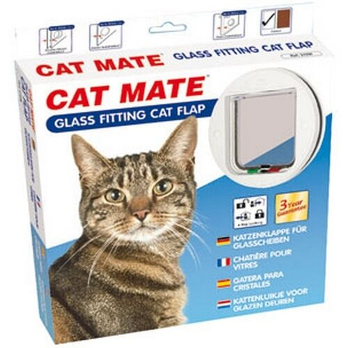 Chatiere Porte Chat Cat Mate 4 Positions Pour Vitre Blanche