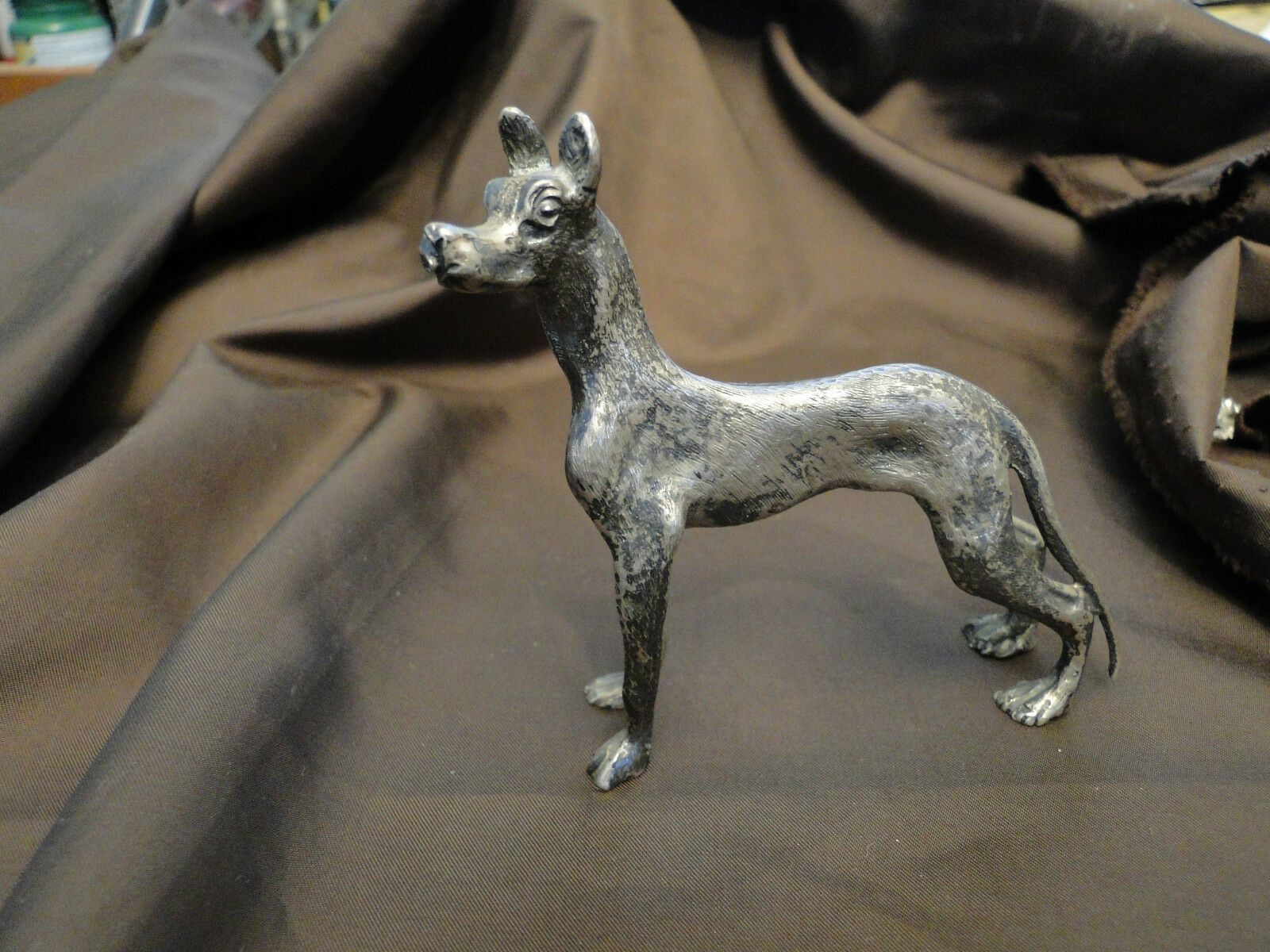 MINIATURE GREAT DAN DOG MADE IN SILVER  800 MARKED IN ITALY CIRCA 1940