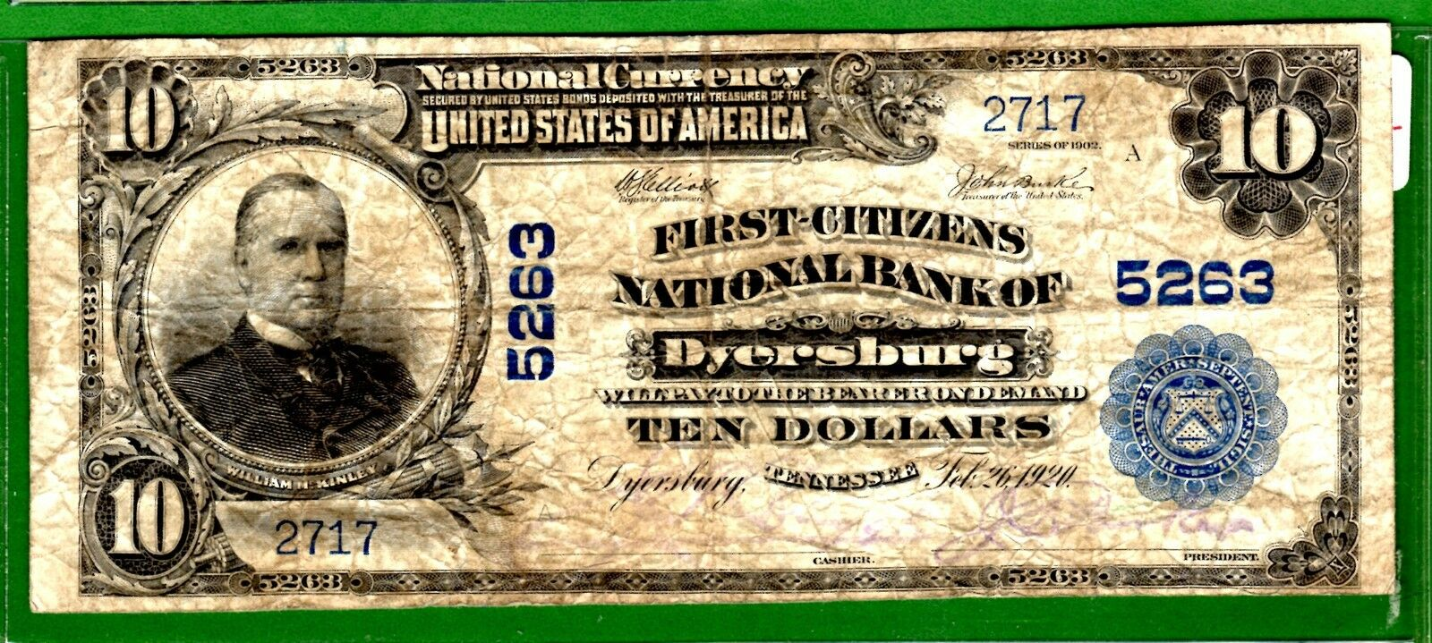 Dyersburg (TN) United States  City new picture : Dyersburg} $10 02Pb First Citizens Nb Of Dyersburg Tn one Bank Town ...