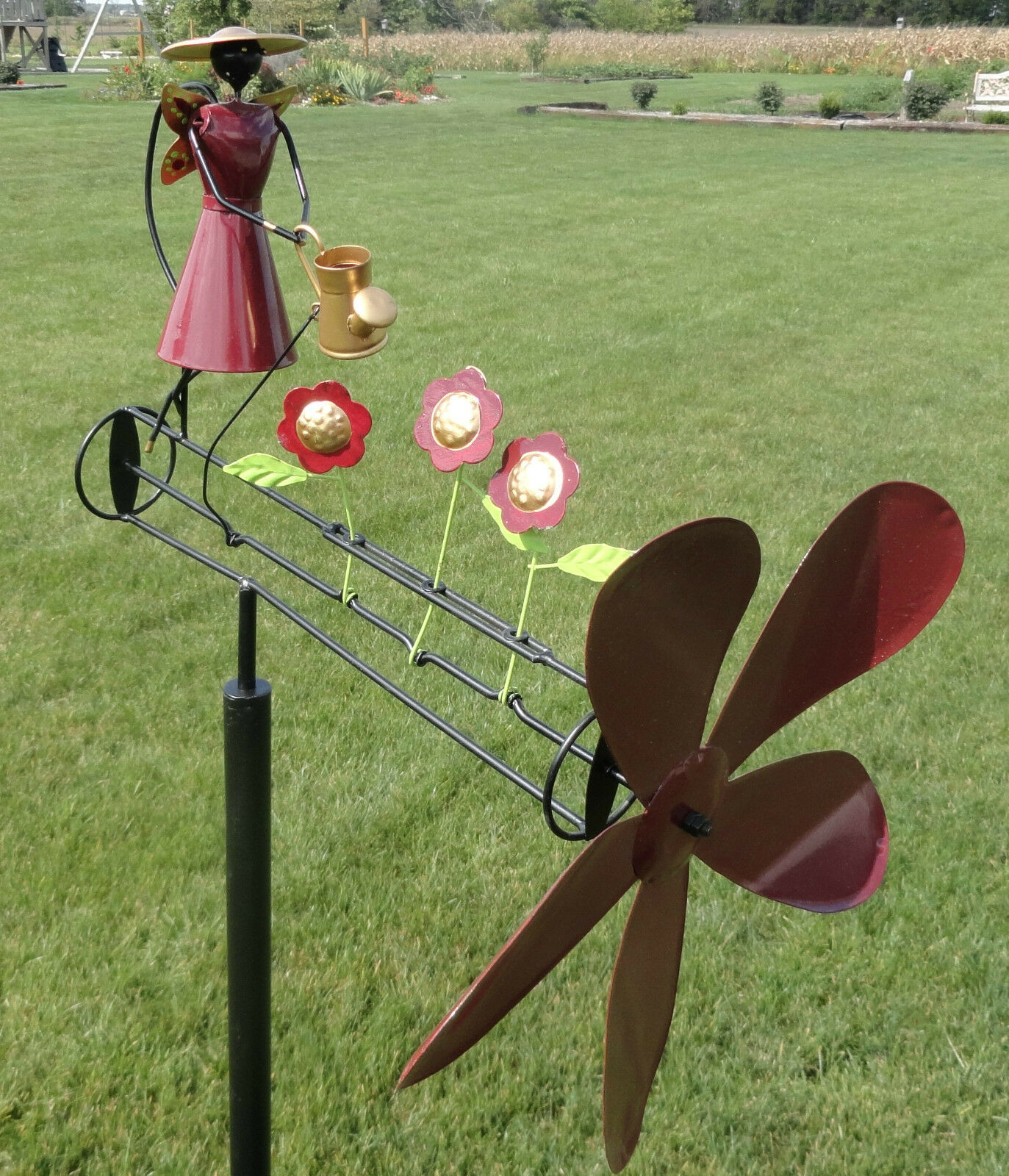 Garden Angel Whirligig Wind Spinner Yard Decor Metal Art Outdoor Decoration