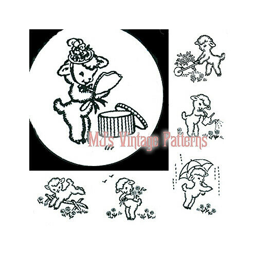 Darling Lambs In Spring A Vintage Embroidery Pattern 6 Designs