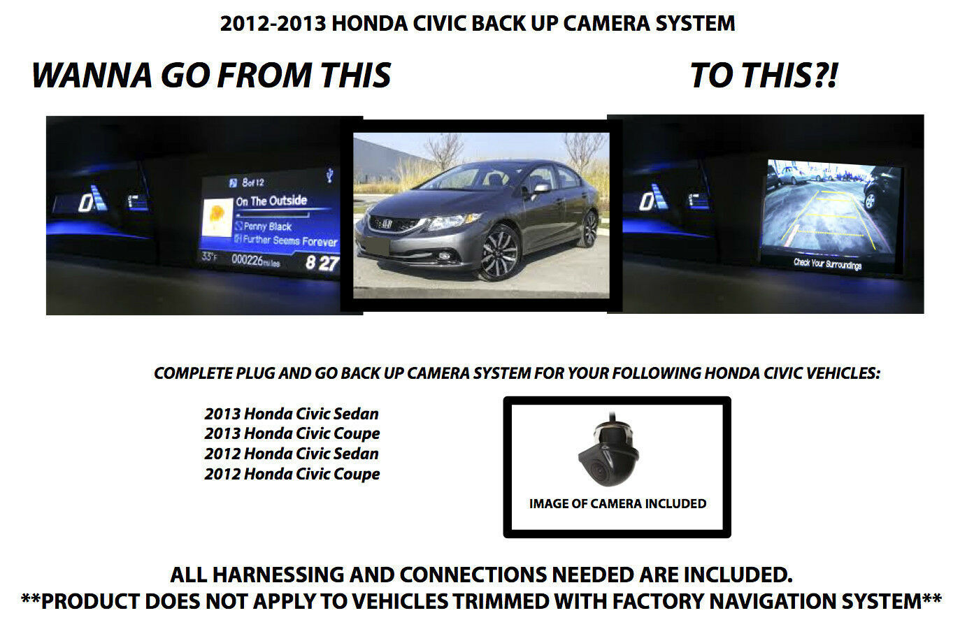 2012 2013 honda civic backup camera system free shipping 3 year warranty. Black Bedroom Furniture Sets. Home Design Ideas