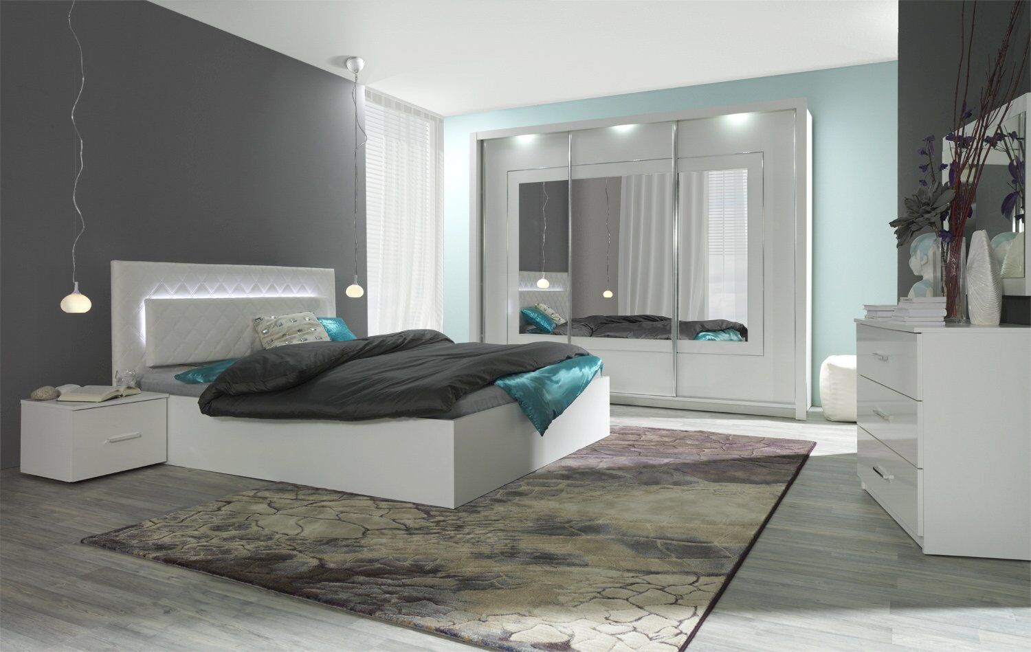 komplett schlafzimmer hochglanz wei mit led bett schrank 2 x nako eur 599 00 picclick de. Black Bedroom Furniture Sets. Home Design Ideas