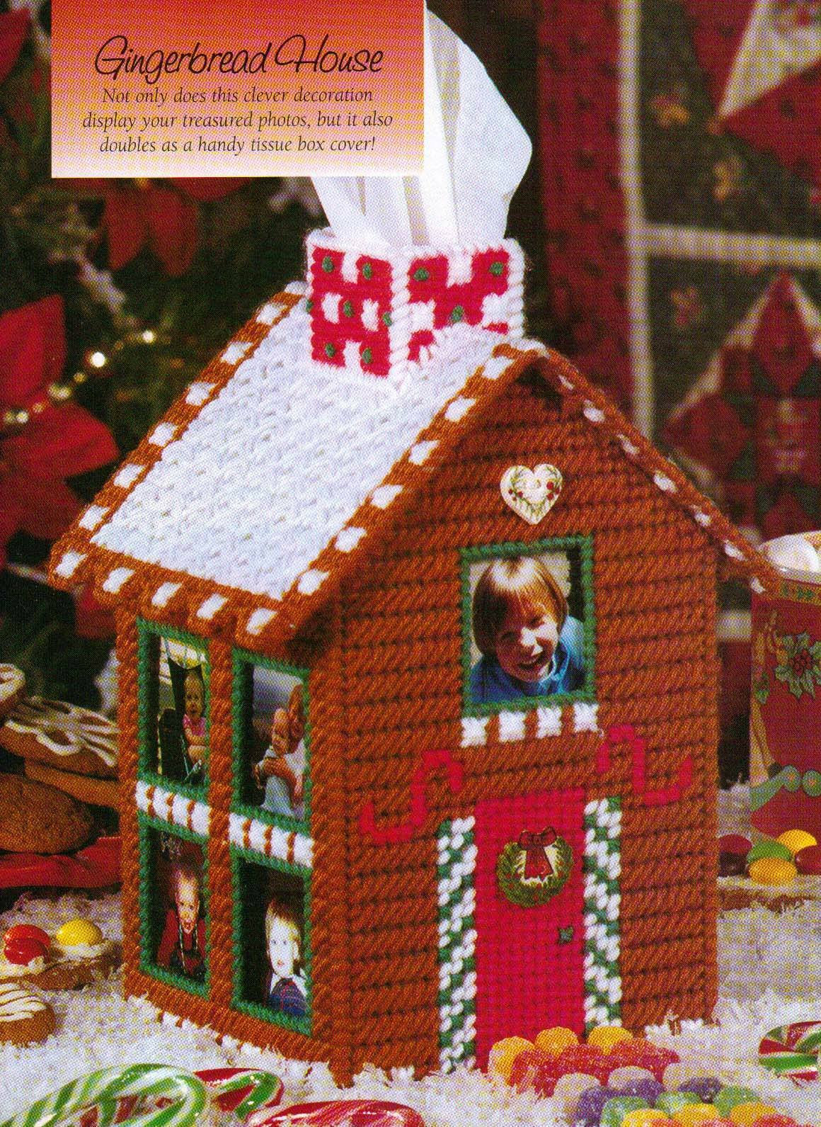 Gingerbread House Tissue Box Cover Christmas Plastic Canvas Pattern