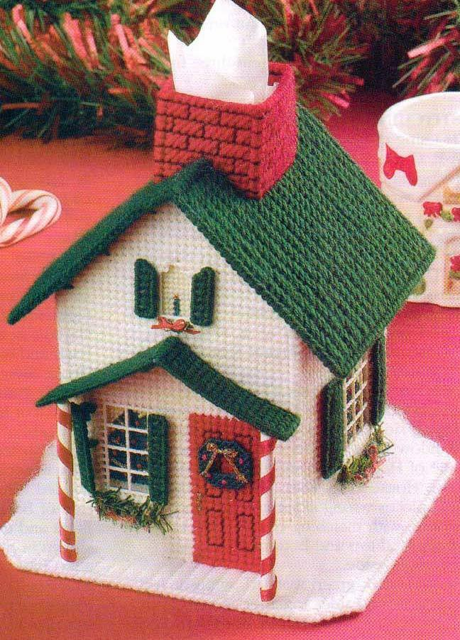 christmas house tissue cover plastic canvas pattern instructions