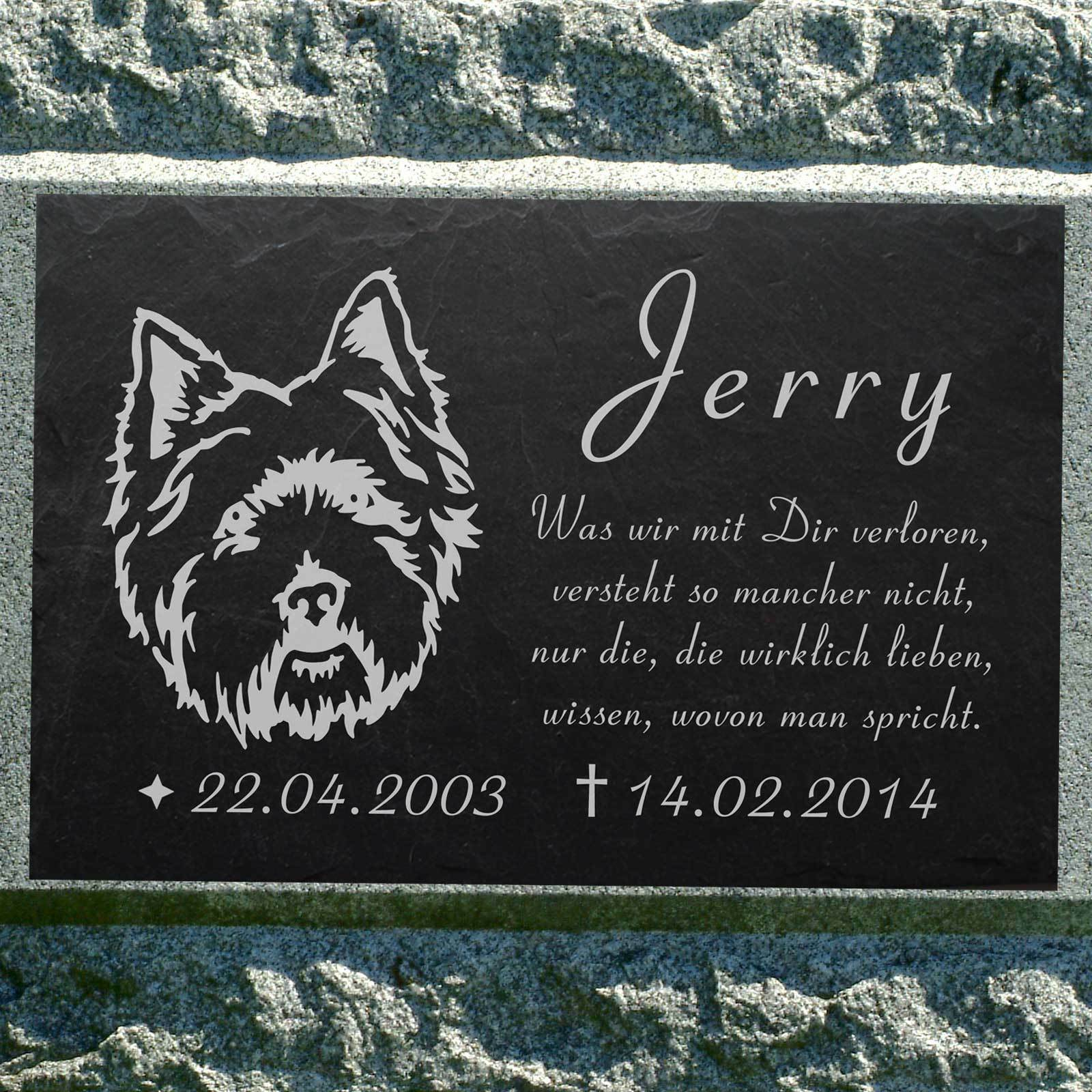 Grabschmuck WEST HIGHLAND TERRIER Westi GRABSTEIN Hund-015 ► IHR TEXT ◄ 40x25 cm