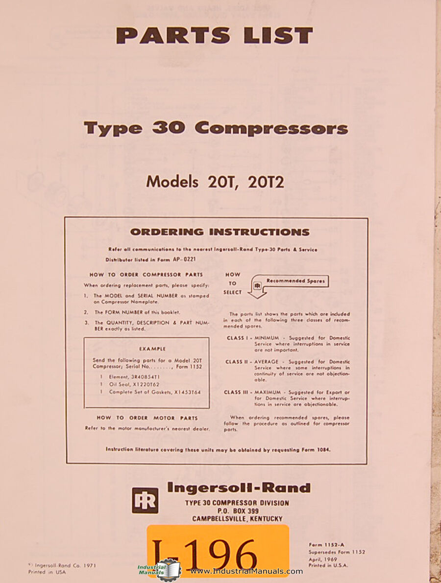 Ingersoll Rand 20t 20t2 Type 30 Air Compressor Parts Manual 1971 Wiring Diagram Roller 1 Of 1free Shipping