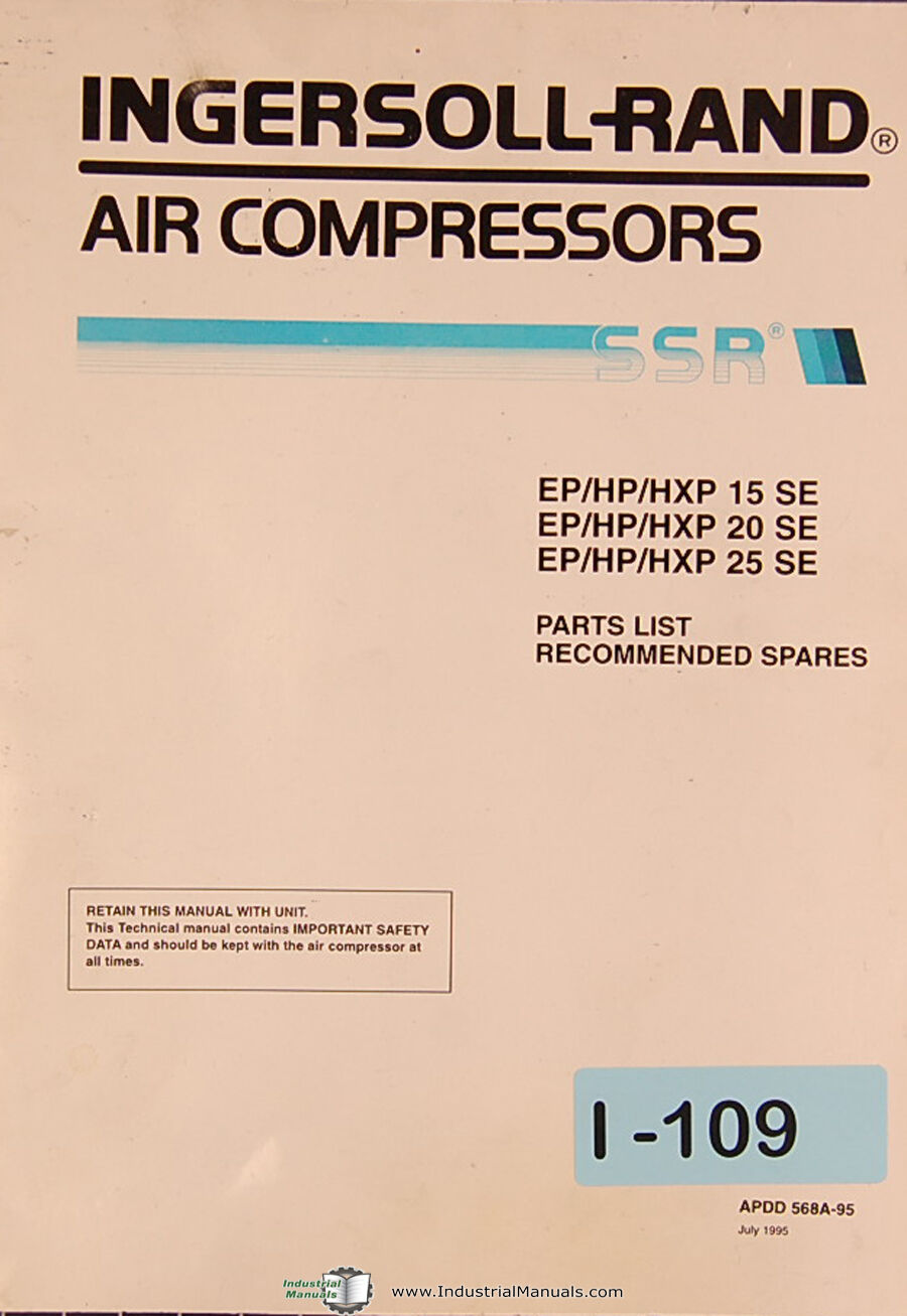 Ingersoll Rand Ep Hp Hxp 15se 20se 25se Air Compressor Parts Wiring Diagram Roller 1 Of 2free Shipping