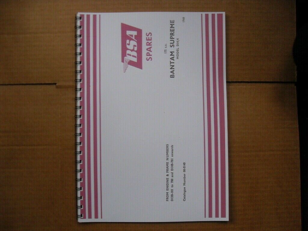 Bsa Bantam Supreme D14/4 Parts Book For 1968 Models 1 of 1Only 5 available  ...