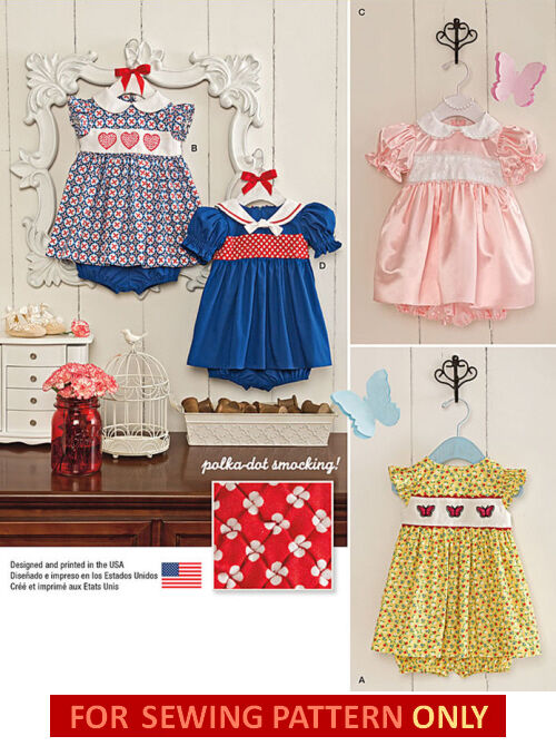Sewing Pattern Make Baby Dresspanties Polka Dot Smocking Girl