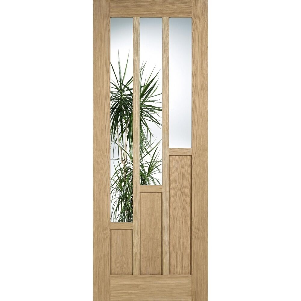 Internal glazed oak door coventry unfinished 3 light clear for Coventry garage doors