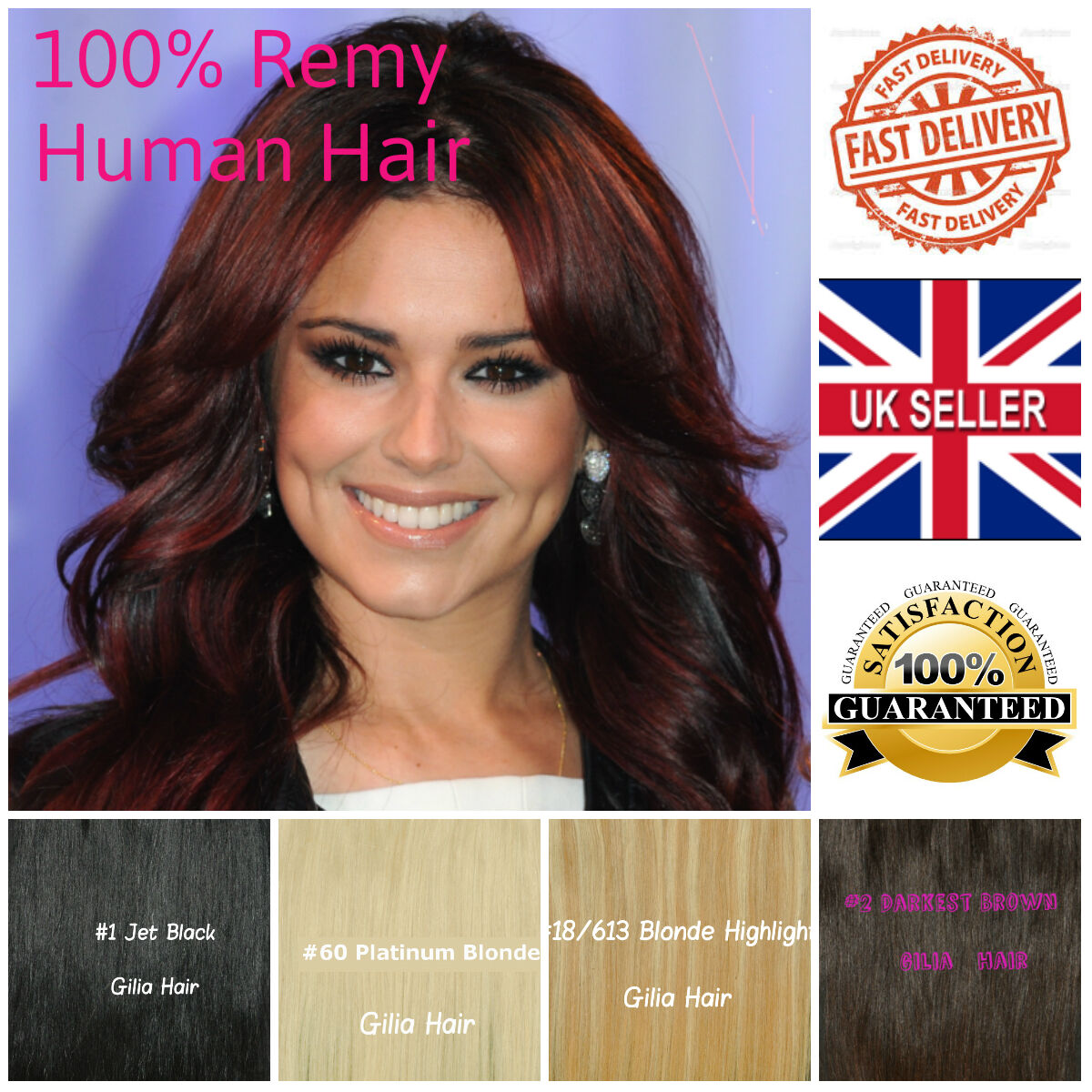 Top Quality Clip In Full Head Remy Real 100 Human Hair Extension Uk