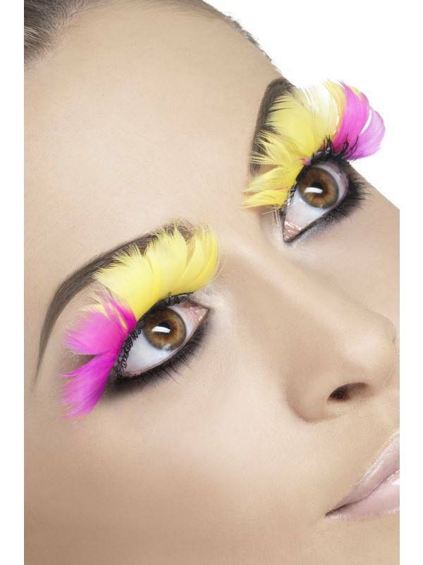 Neon Pink Yellow Feather Lashes Flower Fairy Butterfly Summer