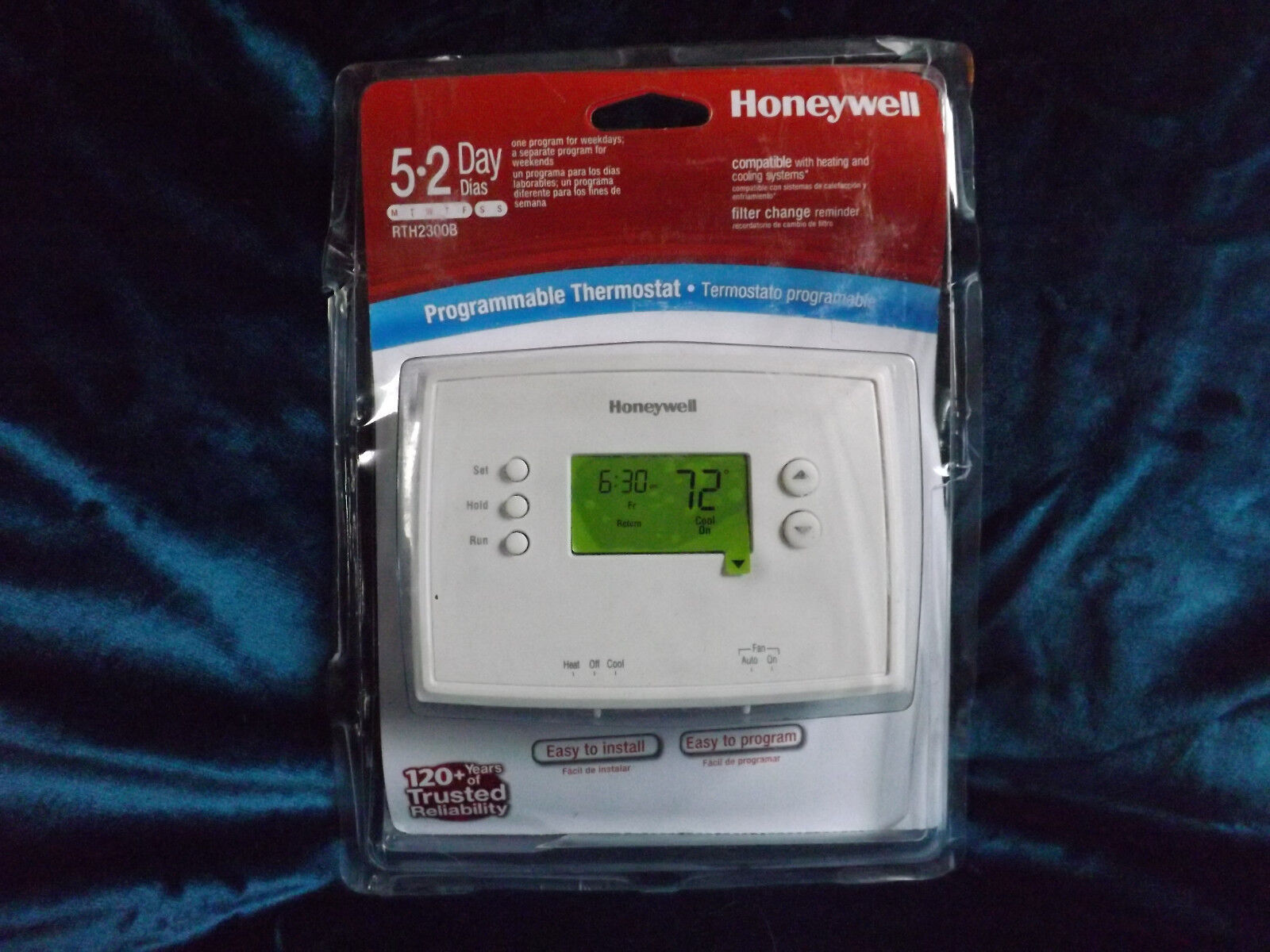 1 Honeywell Rth 2300 B Digital 5 2 Day Programmable Thermostat Green Wiring Diagram For Rth2300b Display