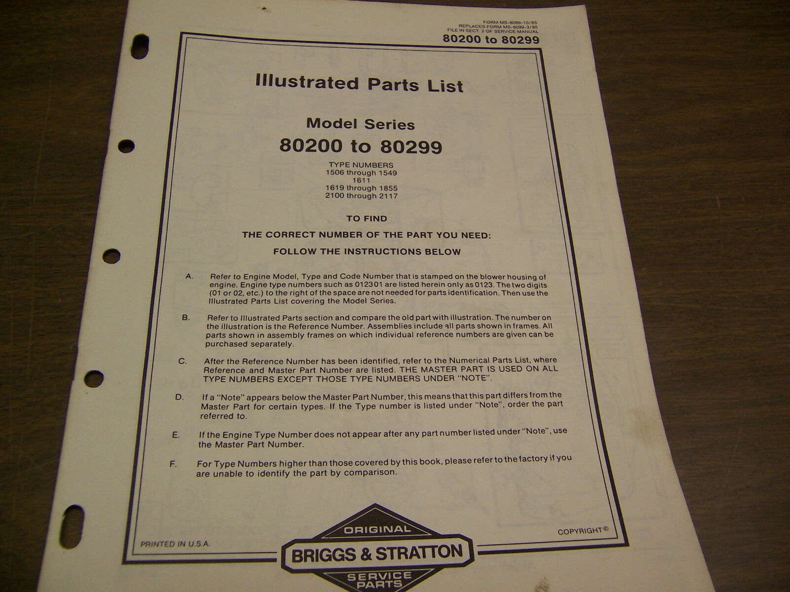 11515 Briggs Stratton Illustrated Parts List 80200 To 80299 And Engine Diagram For 1 Of 2only Available