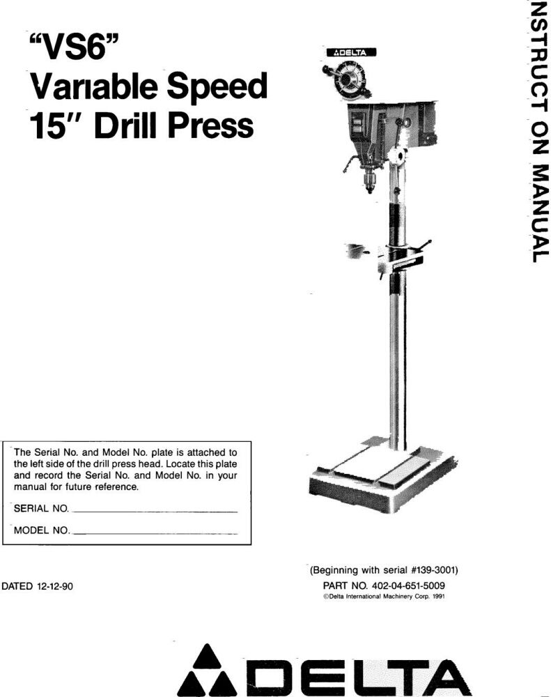 Delta Vs6 Variable Speed 15 Drill Press Instruction Manual 1699 Back Cabinet Diagram And Parts List For Porter Cable Generatorparts 1 Of 1free Shipping See More
