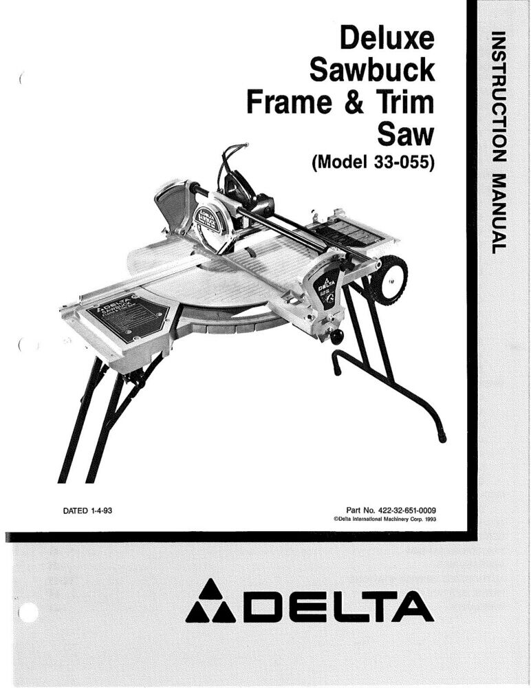 DELTA 33-055 DELUXE Sawbuck Frame & Trim Saw Instruction Manual ...