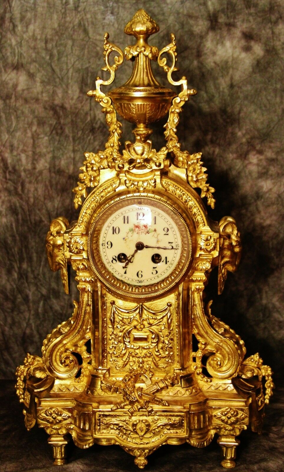 Splendid Large Heavy Ad Mougin French Antique Gilt Solid Bronze Clock C.19Th