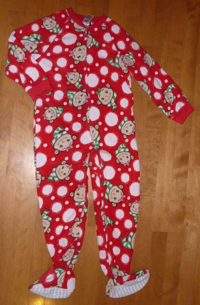 GIRLS JOE BOXER CHRISTMAS Footed Sleeper Pajamas Size XS 4-5 5T ...