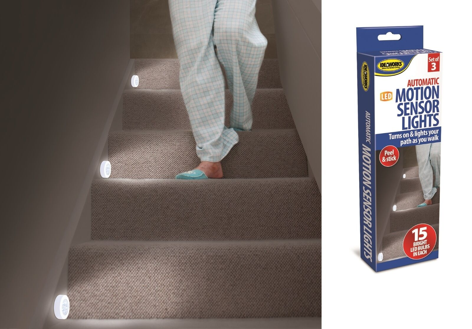 LED Stair Lights Set Of 3 Motion Sensor Stair Lights Hallway Light Night  Light 1 Of 9FREE Shipping LED Stair Lights ...