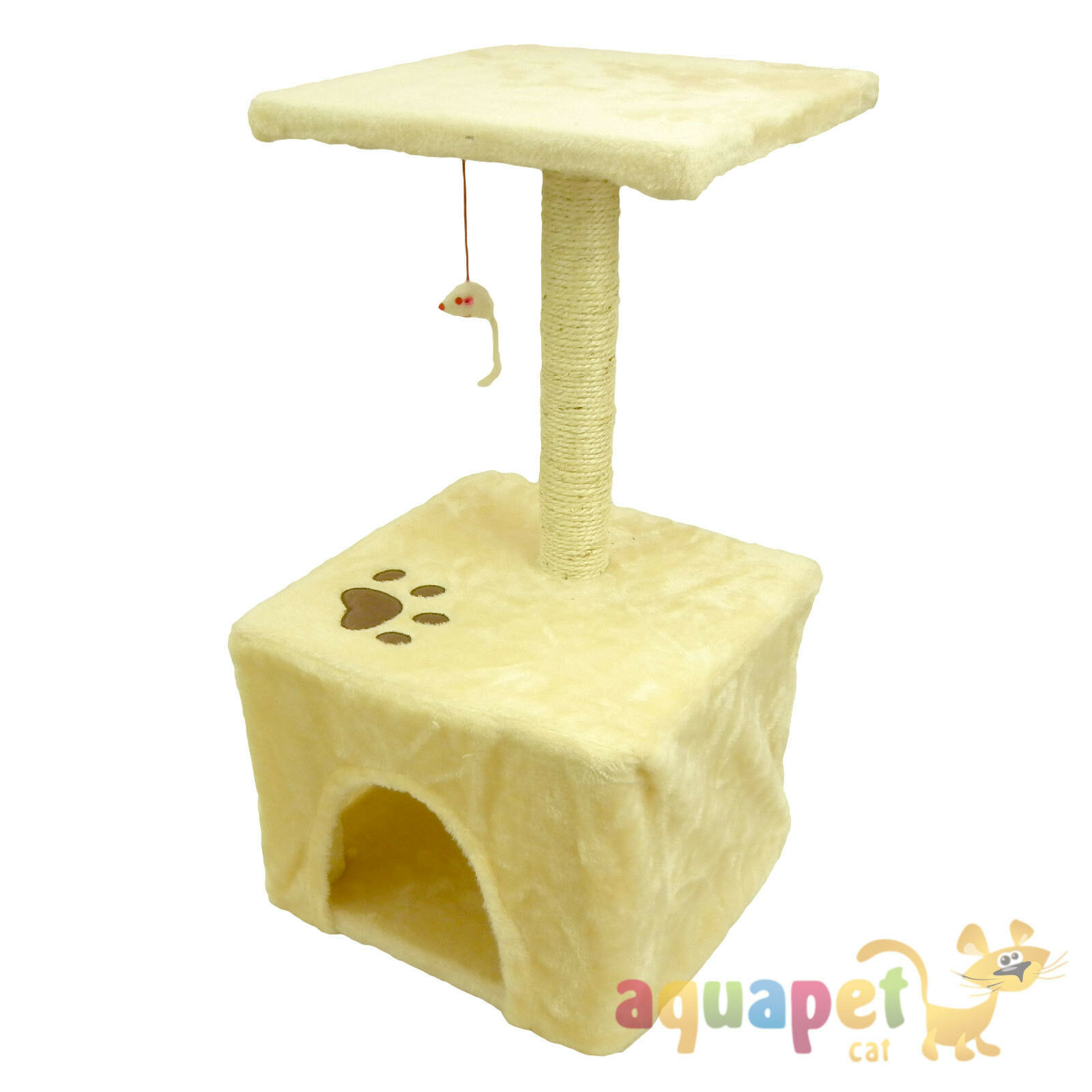 Cat Tree with House, Sisal Pole, Platform and Mouse Toy