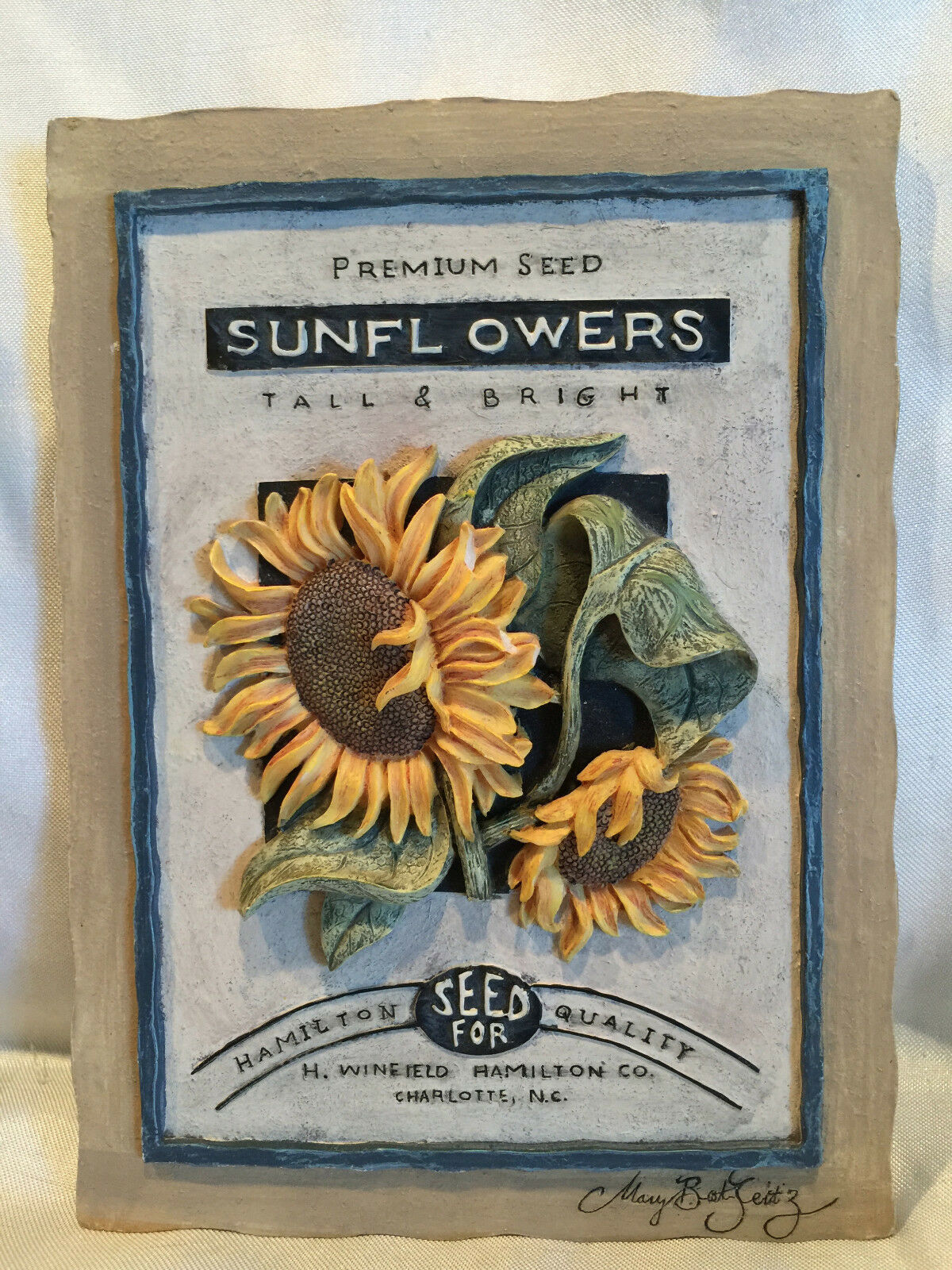 Pre-owned Molded 3-D Sunflowers Hamilton Quality Premium Seed Resin Wall Plaque